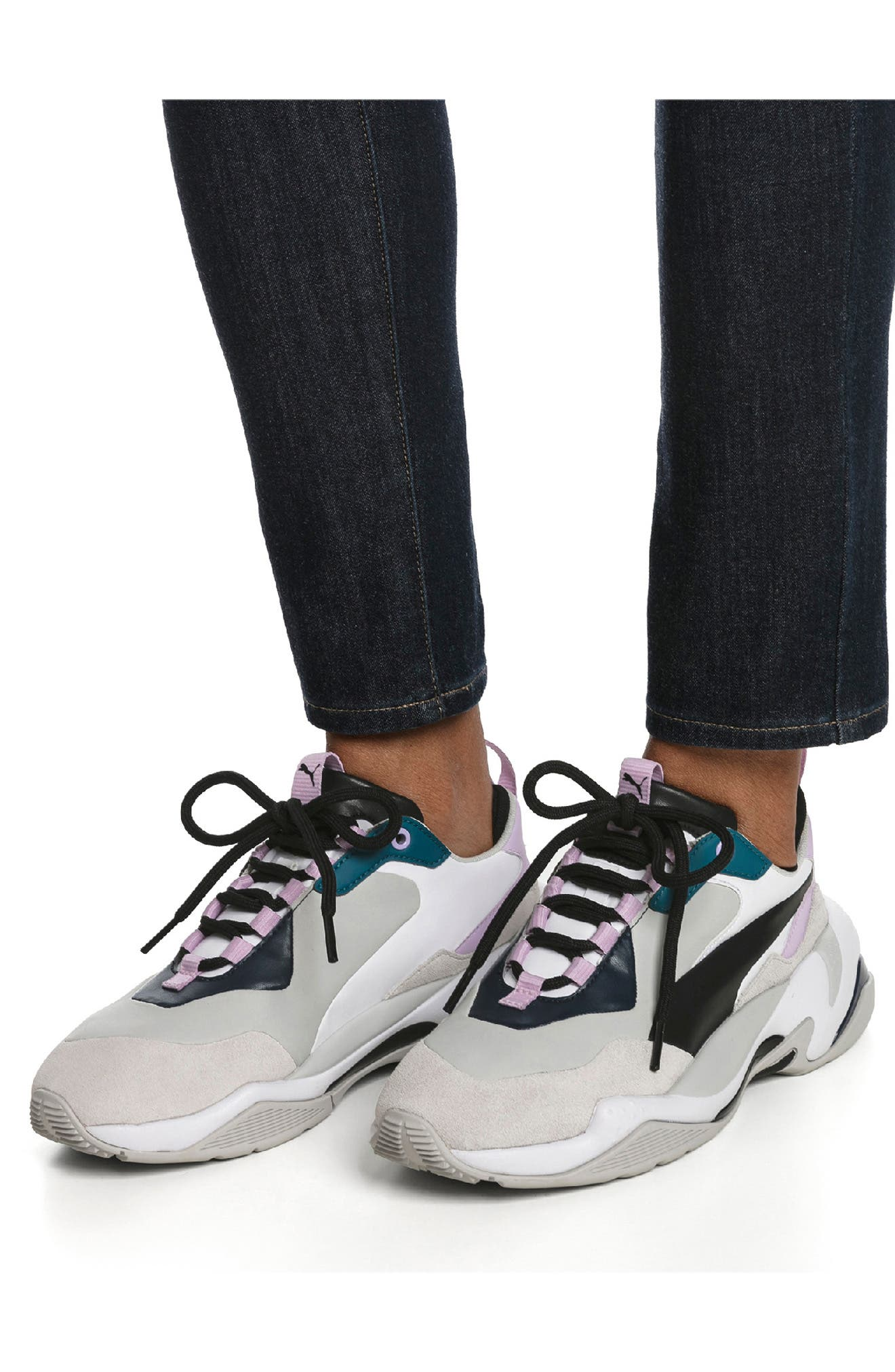 PUMA, Thunder Electric Sneaker, Alternate thumbnail 6, color, DEEP LAGOON/ ORCHID BLOOM
