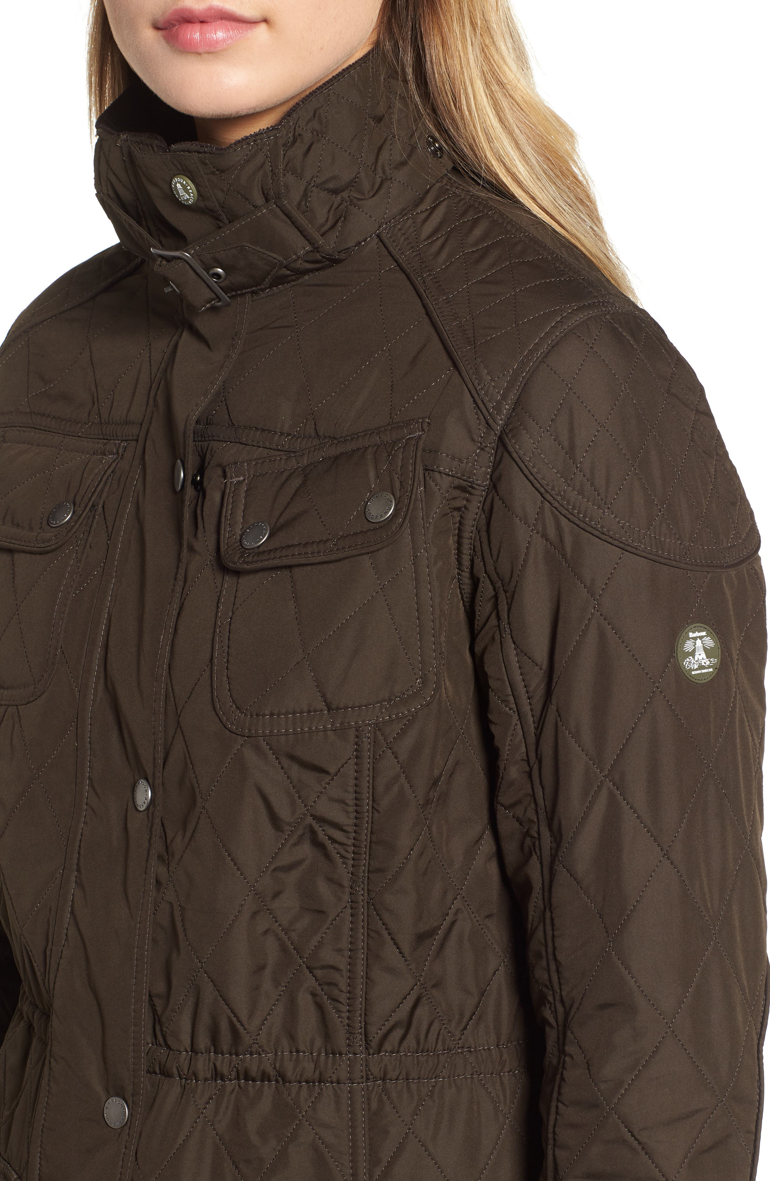BARBOUR, 'Arrow' Quilted Anorak, Alternate thumbnail 5, color, 340