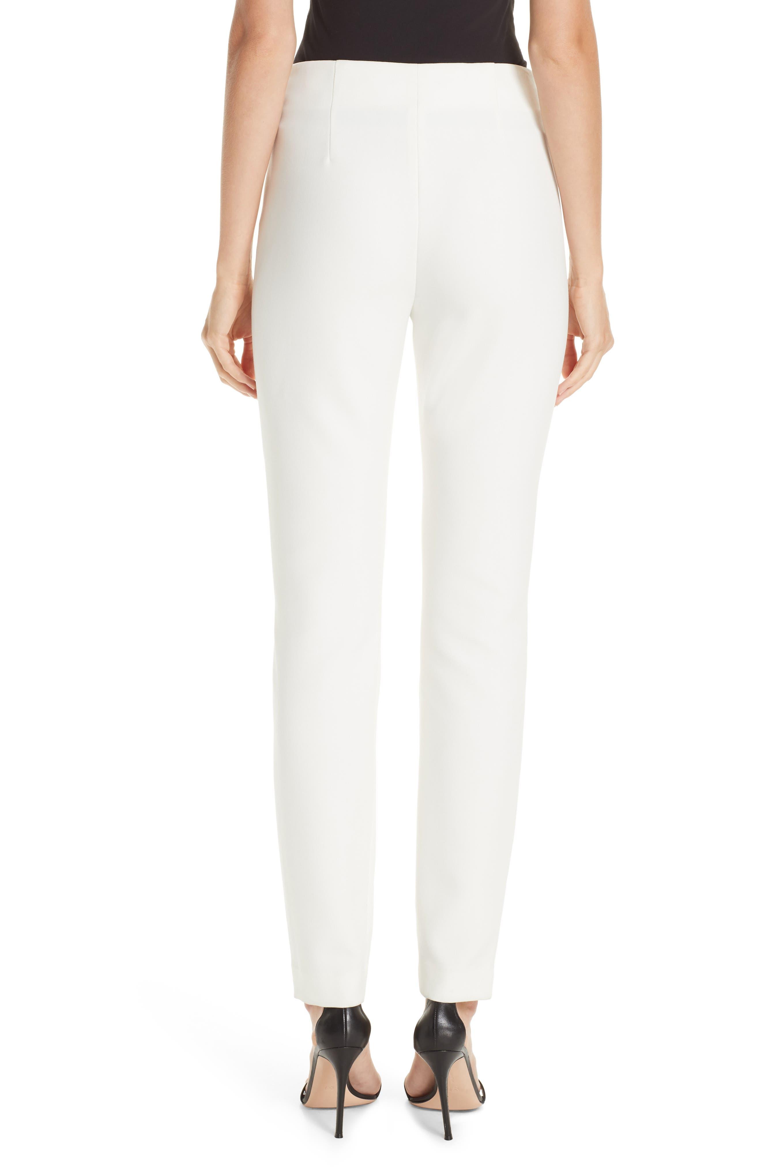 ST. JOHN COLLECTION, Bella Double Weave Skinny Pants, Alternate thumbnail 2, color, CREAM