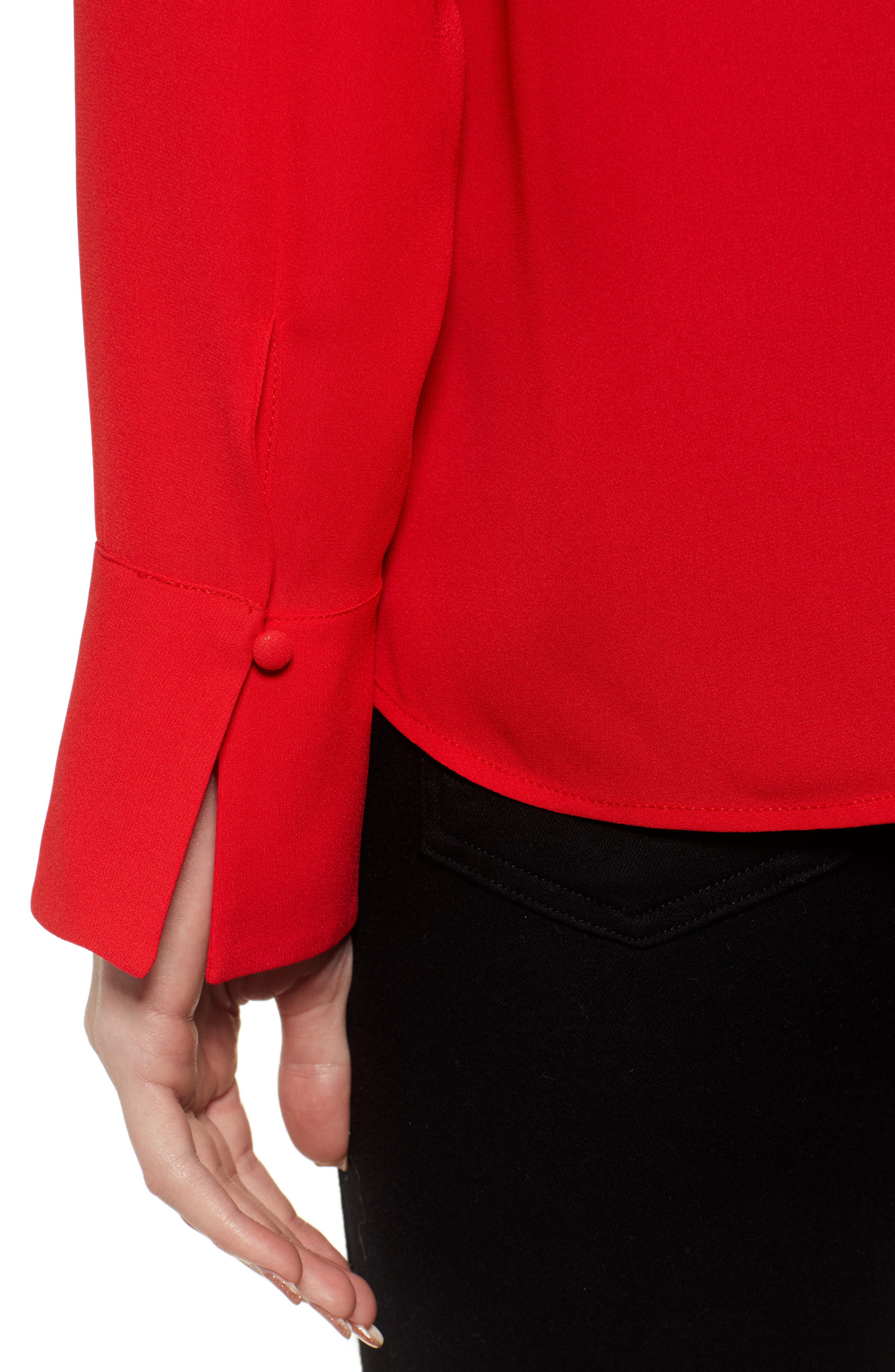 CHELSEA28, Tucked Top, Alternate thumbnail 4, color, RED CHINOISE