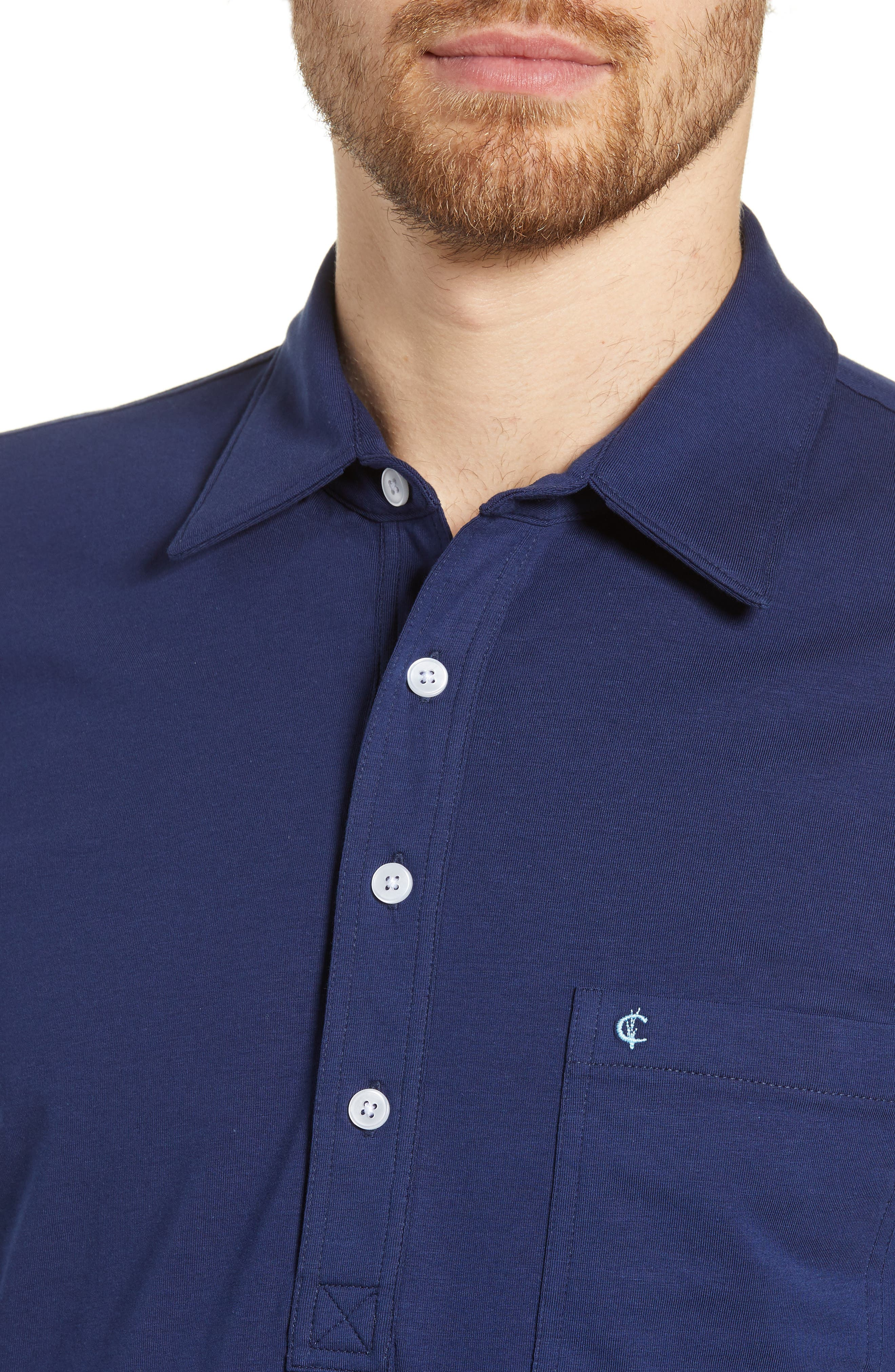 CRIQUET, Players Stretch Jersey Polo, Alternate thumbnail 4, color, NAVY