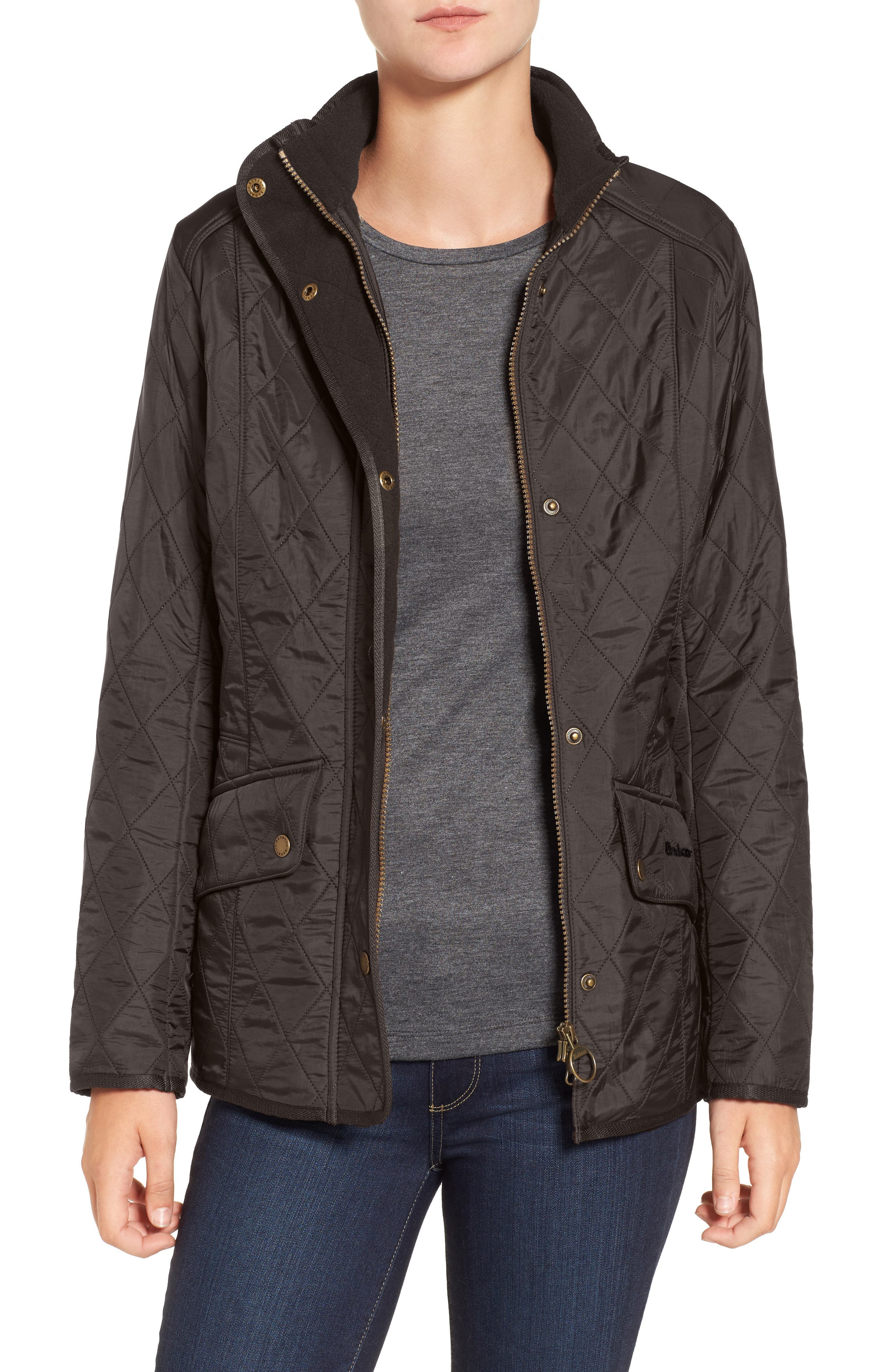 BARBOUR, 'Cavalry' Quilted Jacket, Alternate thumbnail 7, color, DARK OLIVE/ OLIVE