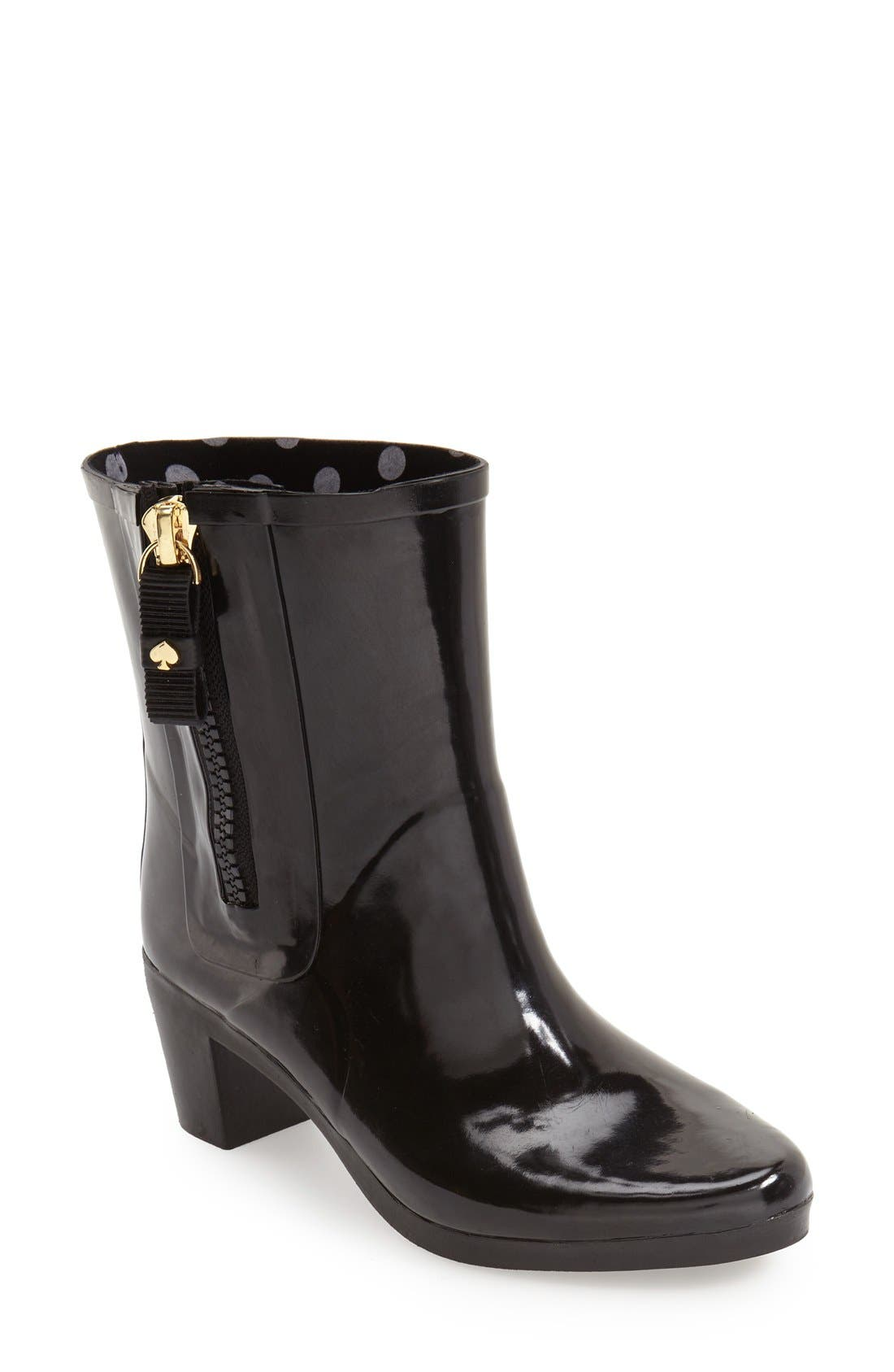 KATE SPADE NEW YORK, 'penny' rain boot, Main thumbnail 1, color, 001