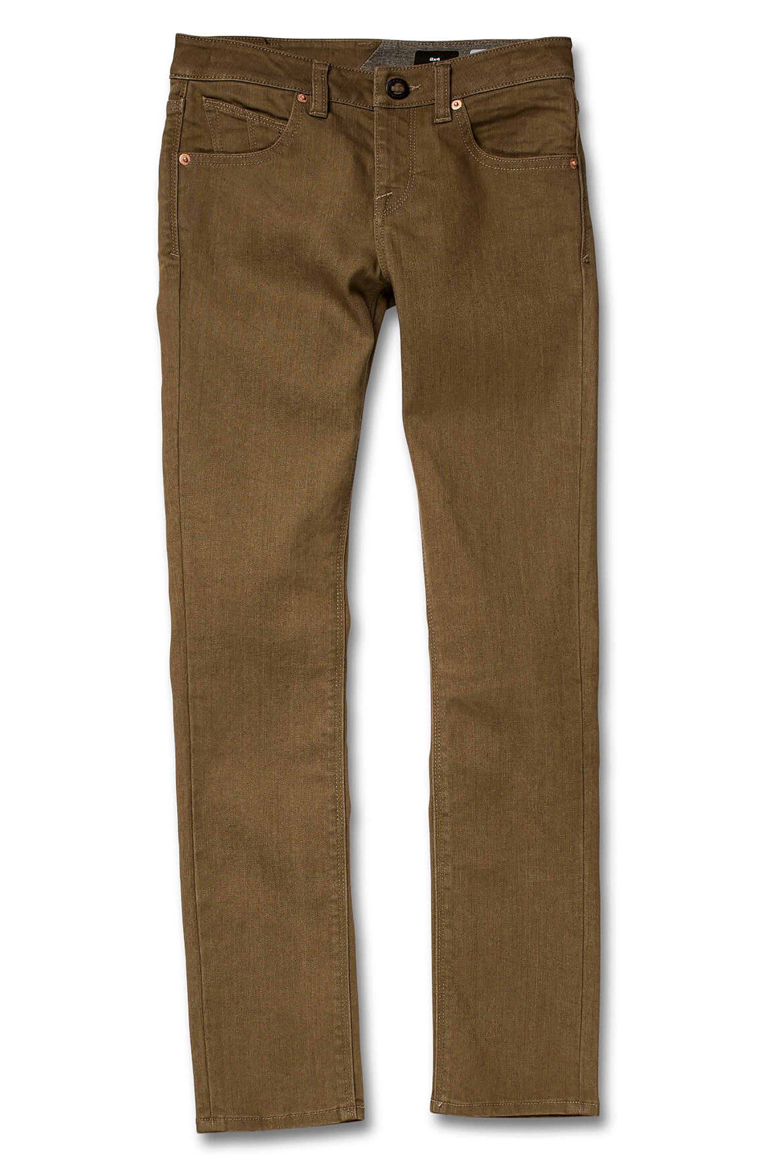 VOLCOM, '2x4' Skinny Jeans, Main thumbnail 1, color, WET SAND