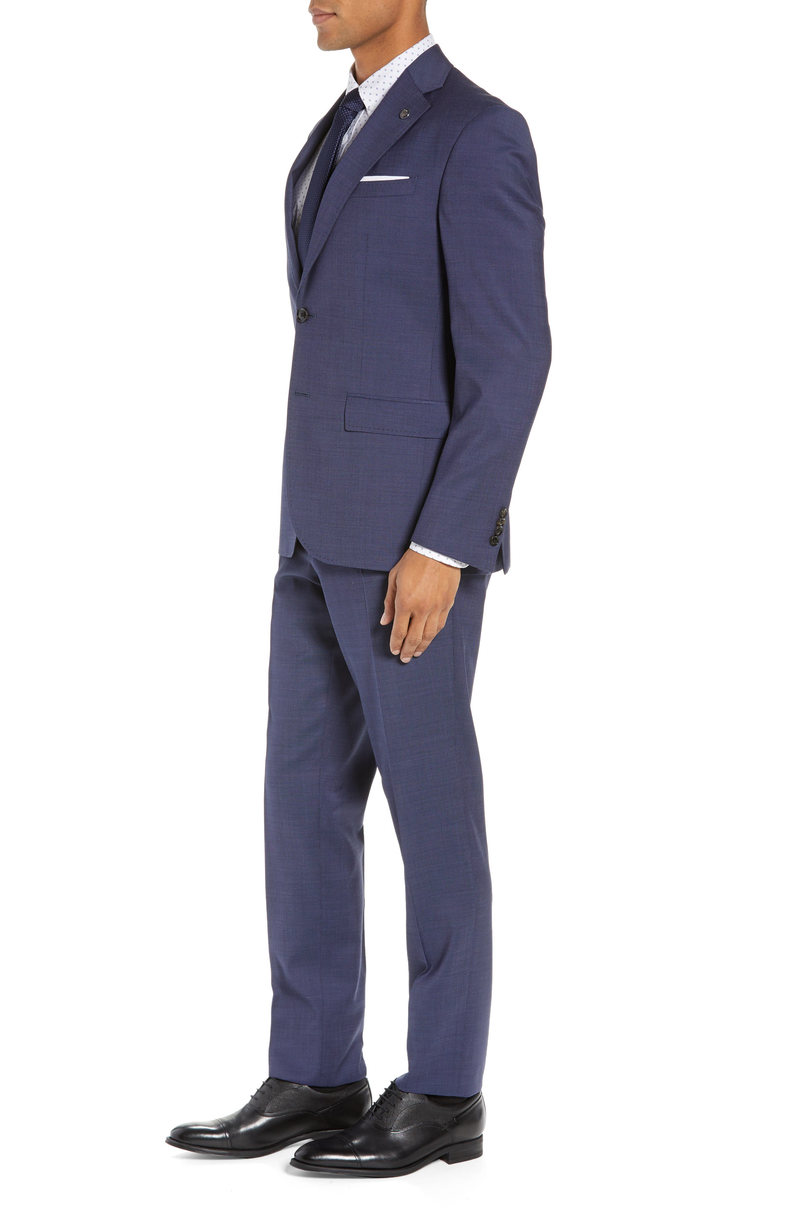 TED BAKER LONDON, Roger Slim Fit Solid Wool Suit, Alternate thumbnail 3, color, BLUE