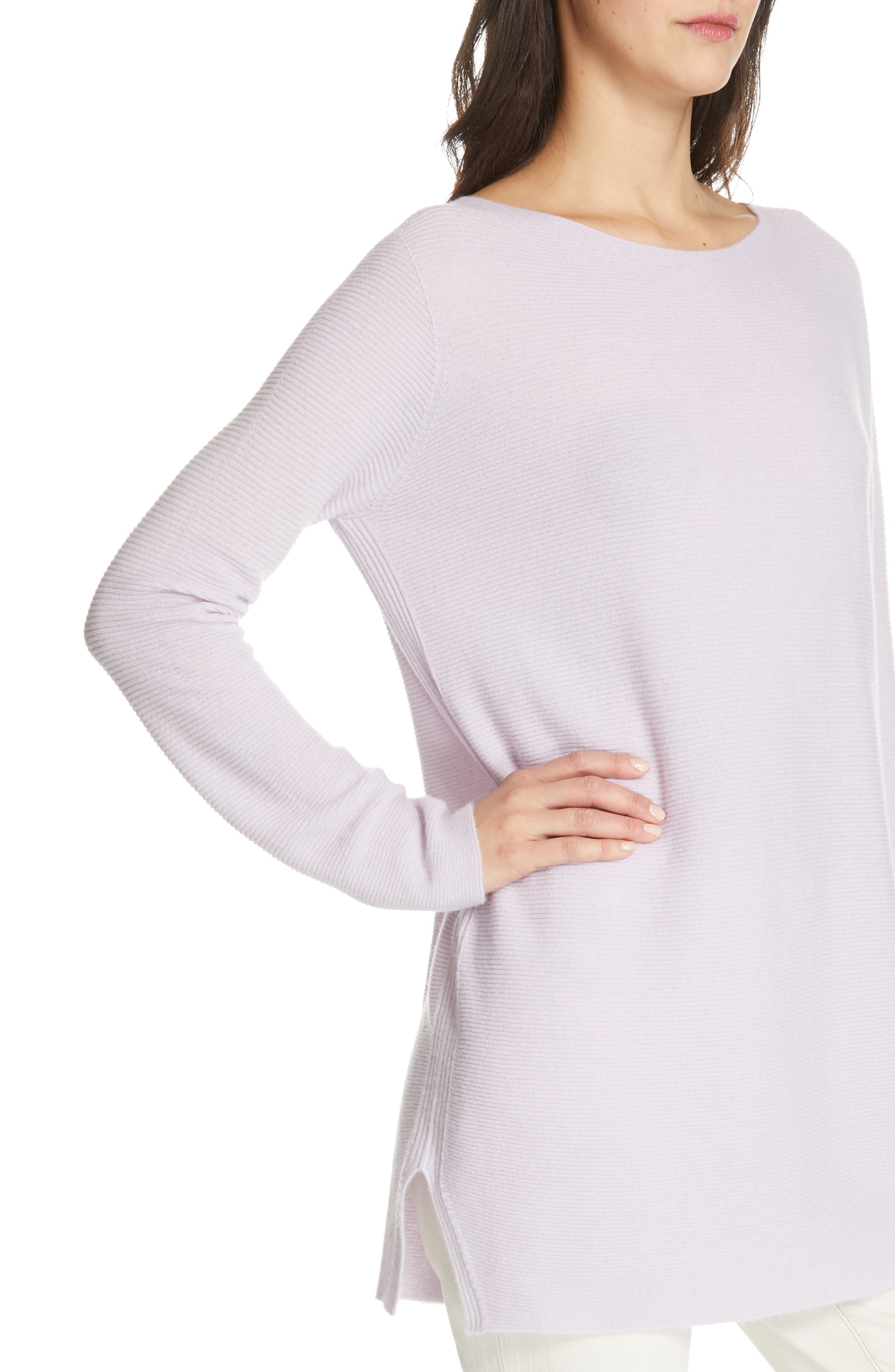 EILEEN FISHER, Bateau Neck Cashmere Tunic Sweater, Alternate thumbnail 4, color, MALLOW