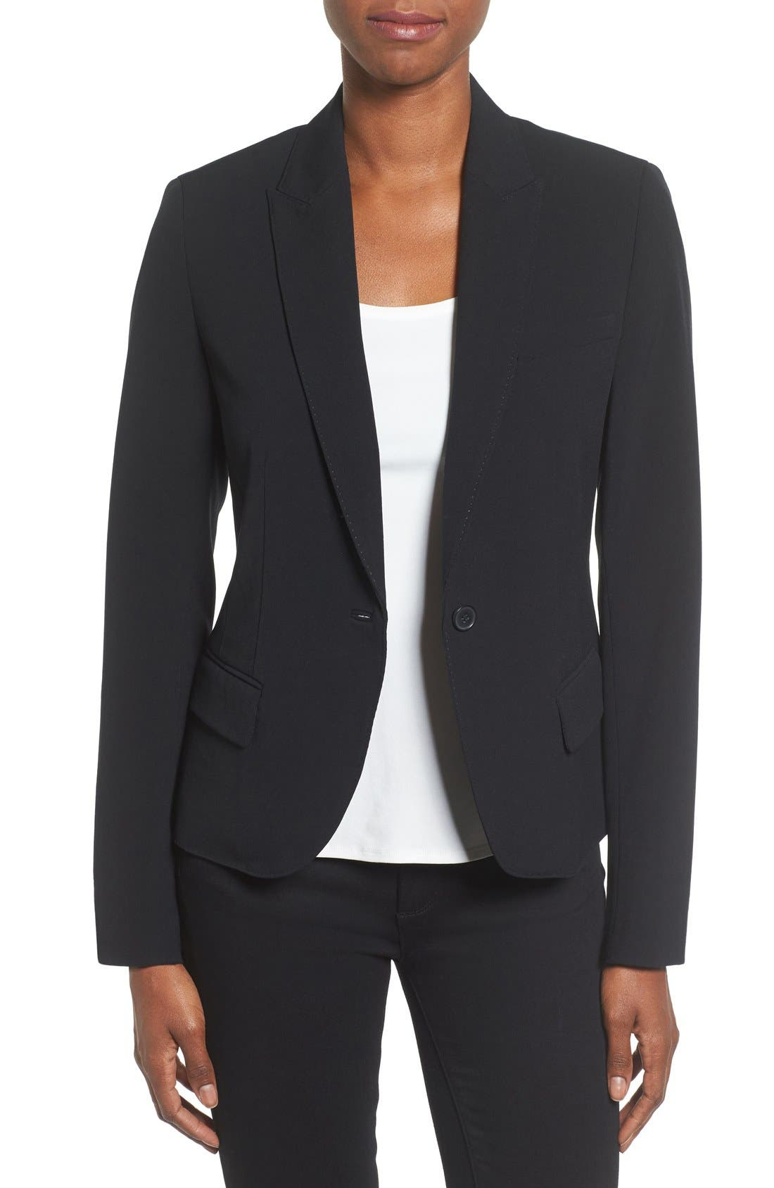 ANNE KLEIN, One-Button Suit Jacket, Main thumbnail 1, color, 001