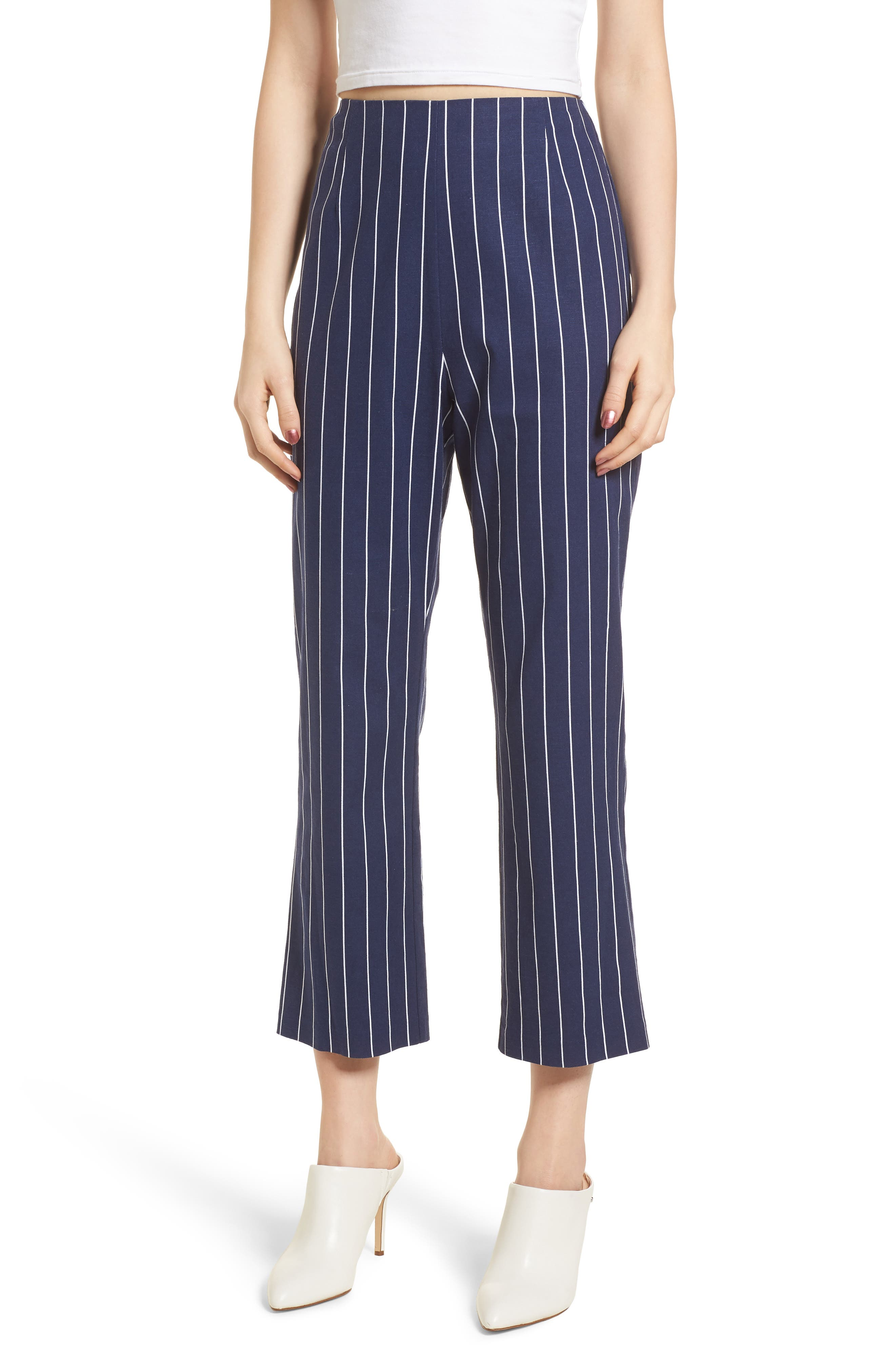 WAYF, Pisa High Waist Crop Pants, Main thumbnail 1, color, 400