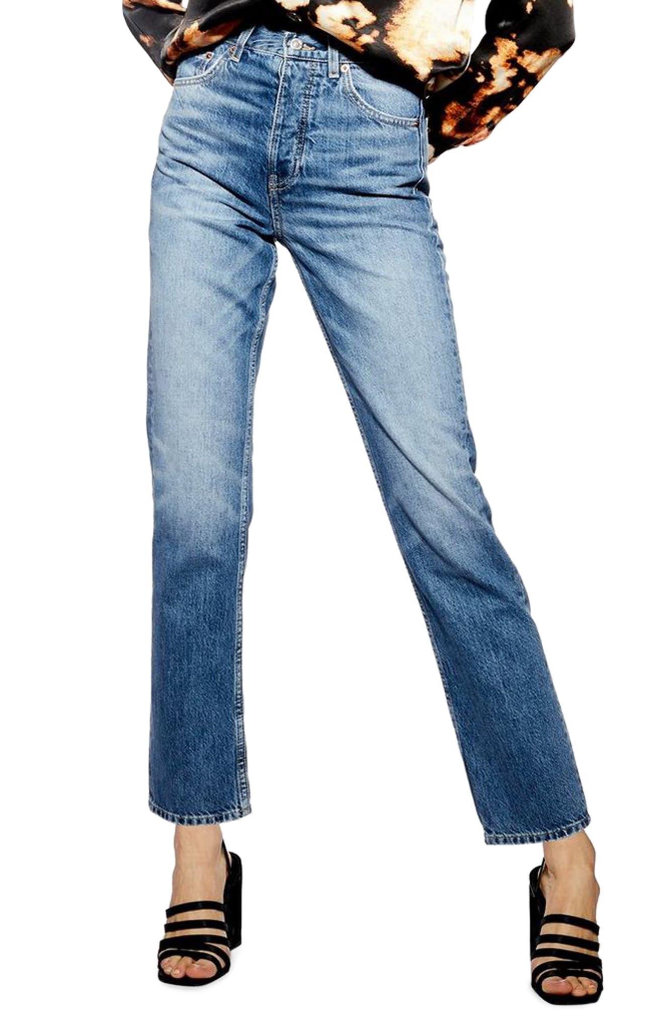 TOPSHOP Editor Jeans, Main, color, MID DENIM