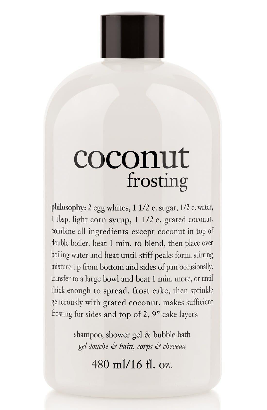 PHILOSOPHY, 'coconut frosting' shampoo, shower gel & bubble bath, Main thumbnail 1, color, COCONUT FROSTING