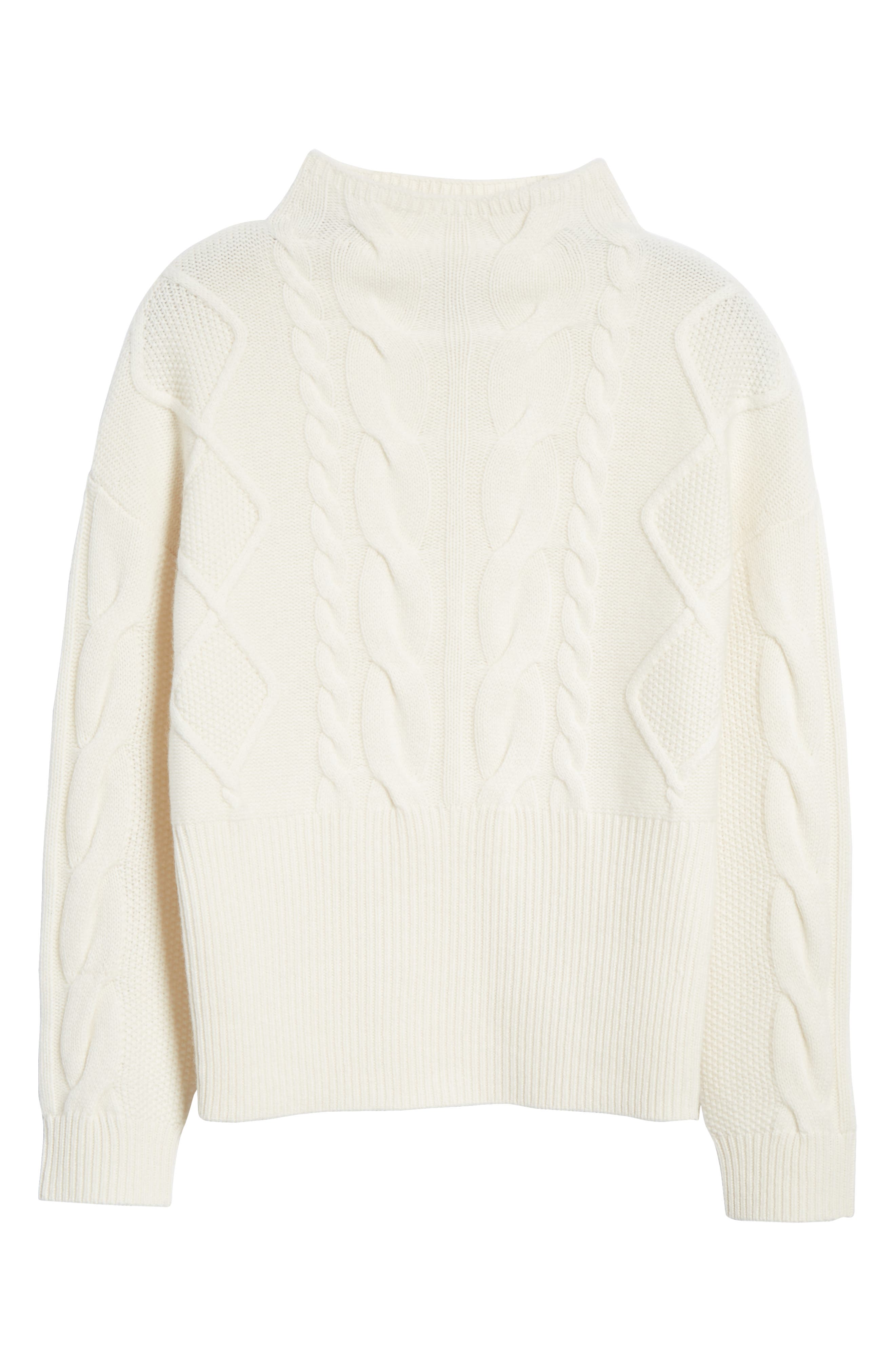 NORDSTROM SIGNATURE, Cable Cashmere Sweater, Alternate thumbnail 6, color, 900
