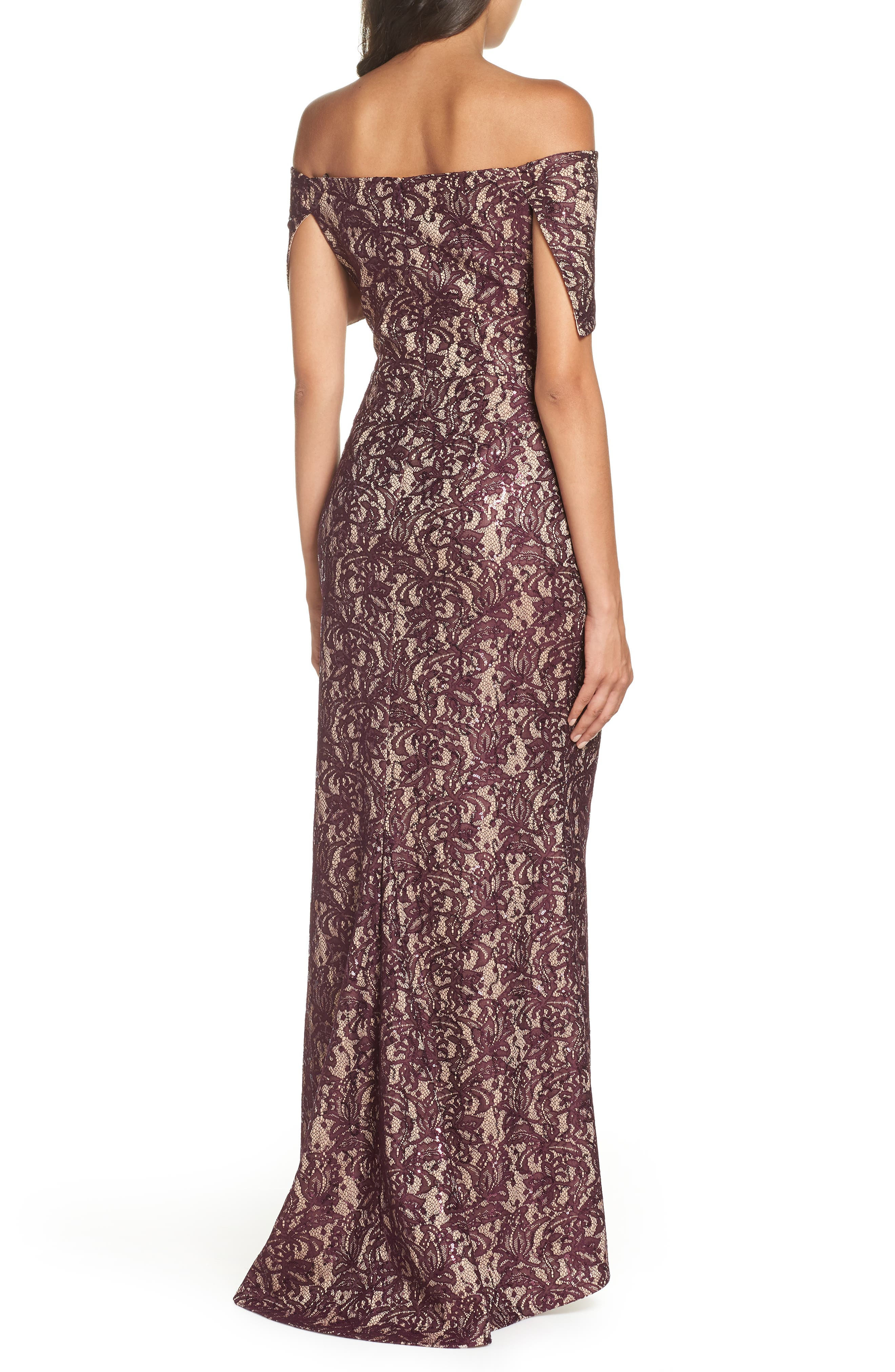 VINCE CAMUTO, Sequin Off the Shoulder Gown, Alternate thumbnail 2, color, WINE