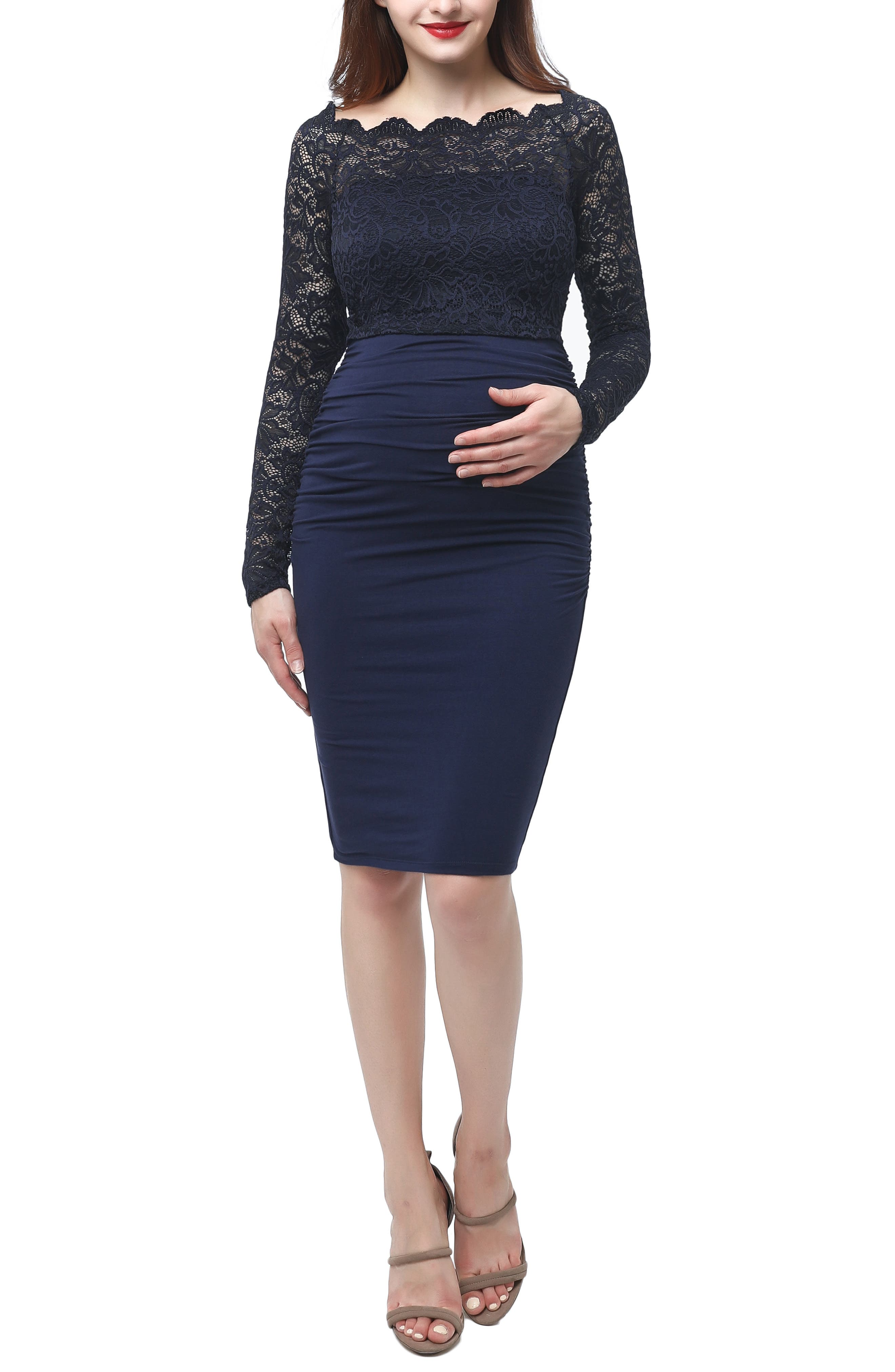 Kimi And Kai Hannah Convertible Off-The-Shoulder Maternity Sheath Dress, Blue