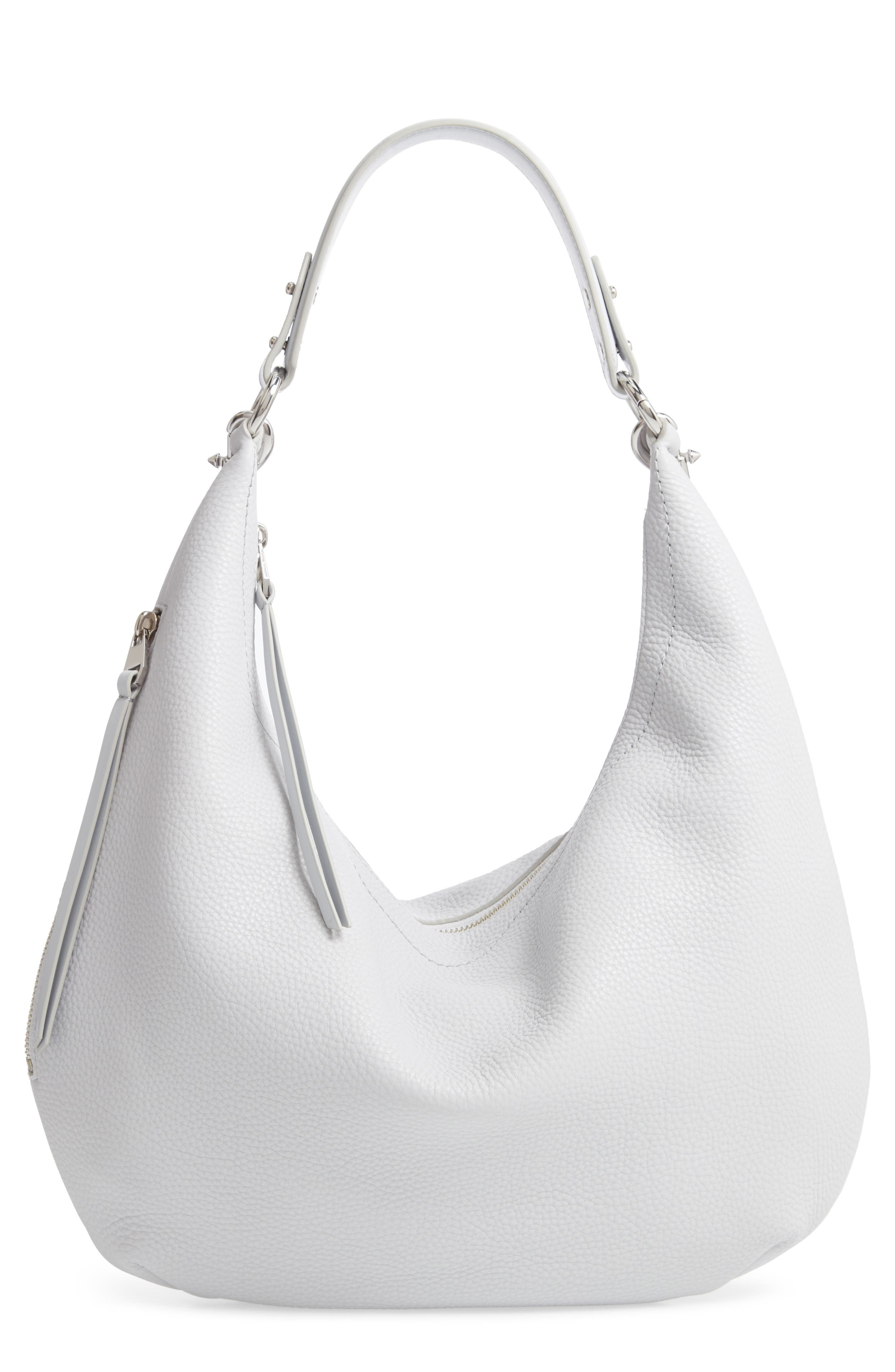 REBECCA MINKOFF, Michelle Leather Hobo, Main thumbnail 1, color, ICE GREY