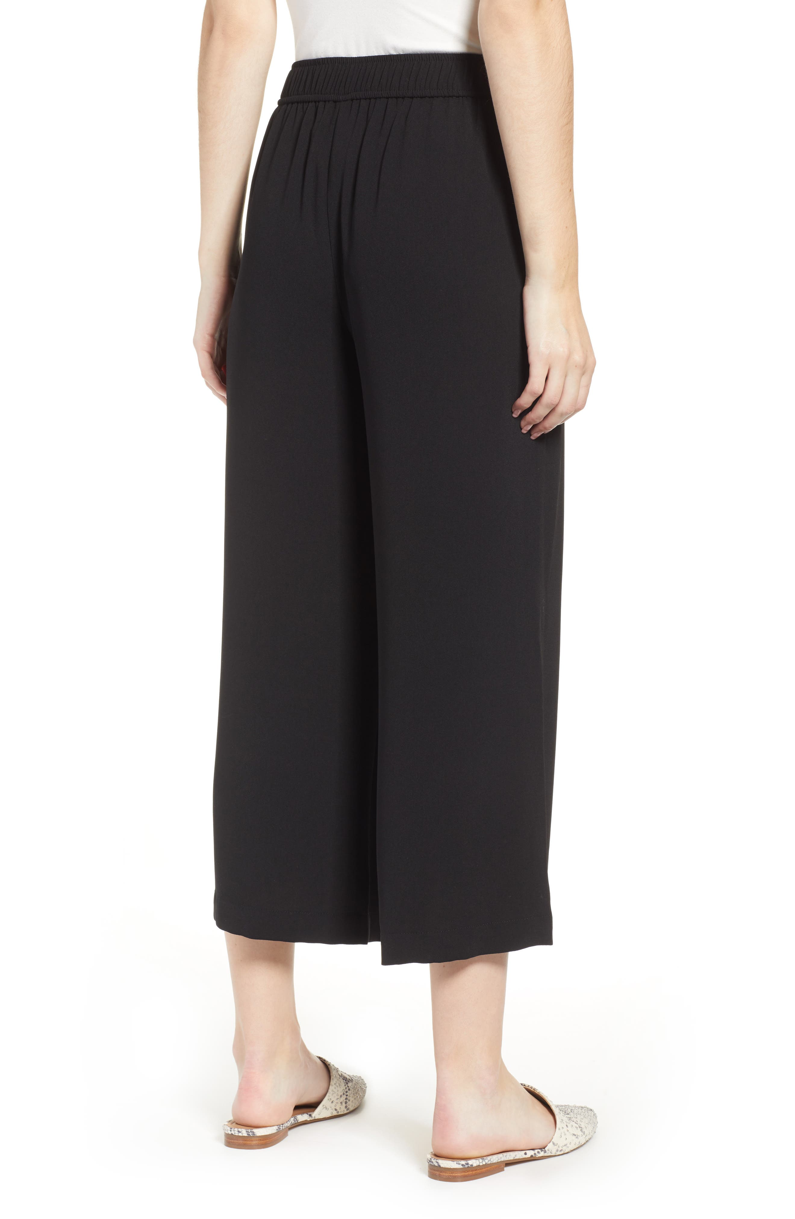 BP., High Waist Soft Wide Leg Crop Pants, Alternate thumbnail 4, color, BLACK
