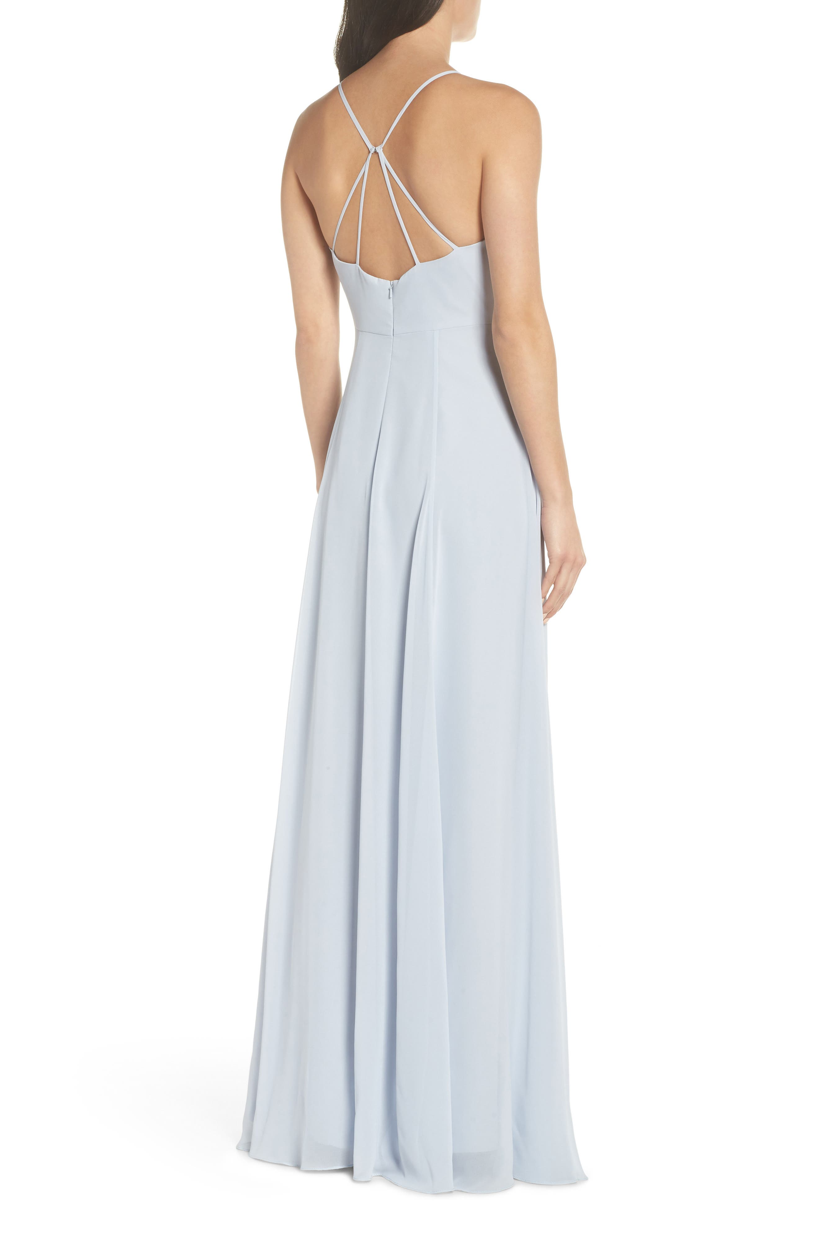 JENNY YOO, Kayla A-Line Halter Gown, Alternate thumbnail 2, color, WHISPER BLUE