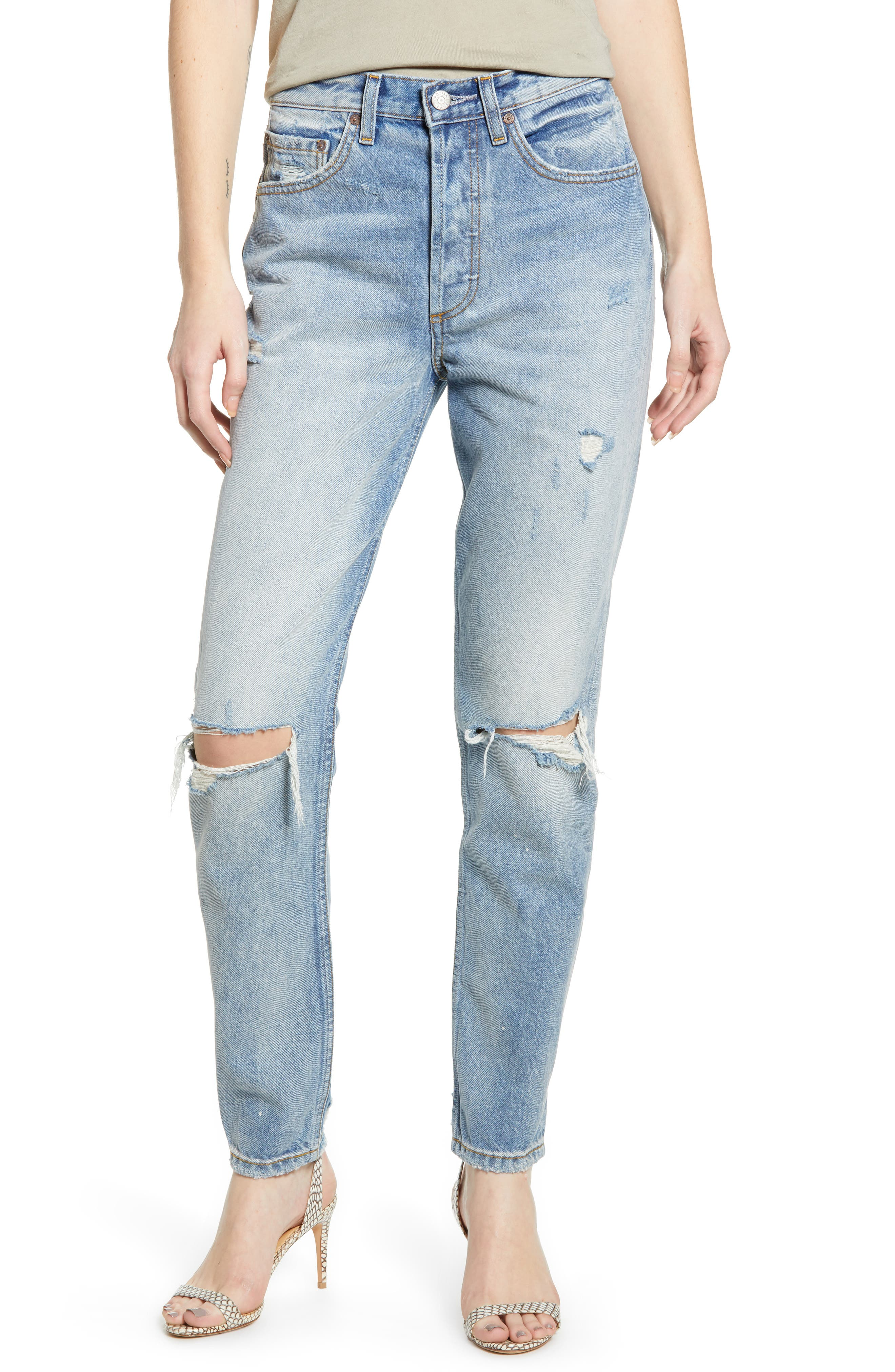 BOYISH JEANS, The Billy Ripped High Waist Ankle Skinny Jeans, Main thumbnail 1, color, EASY RIDER