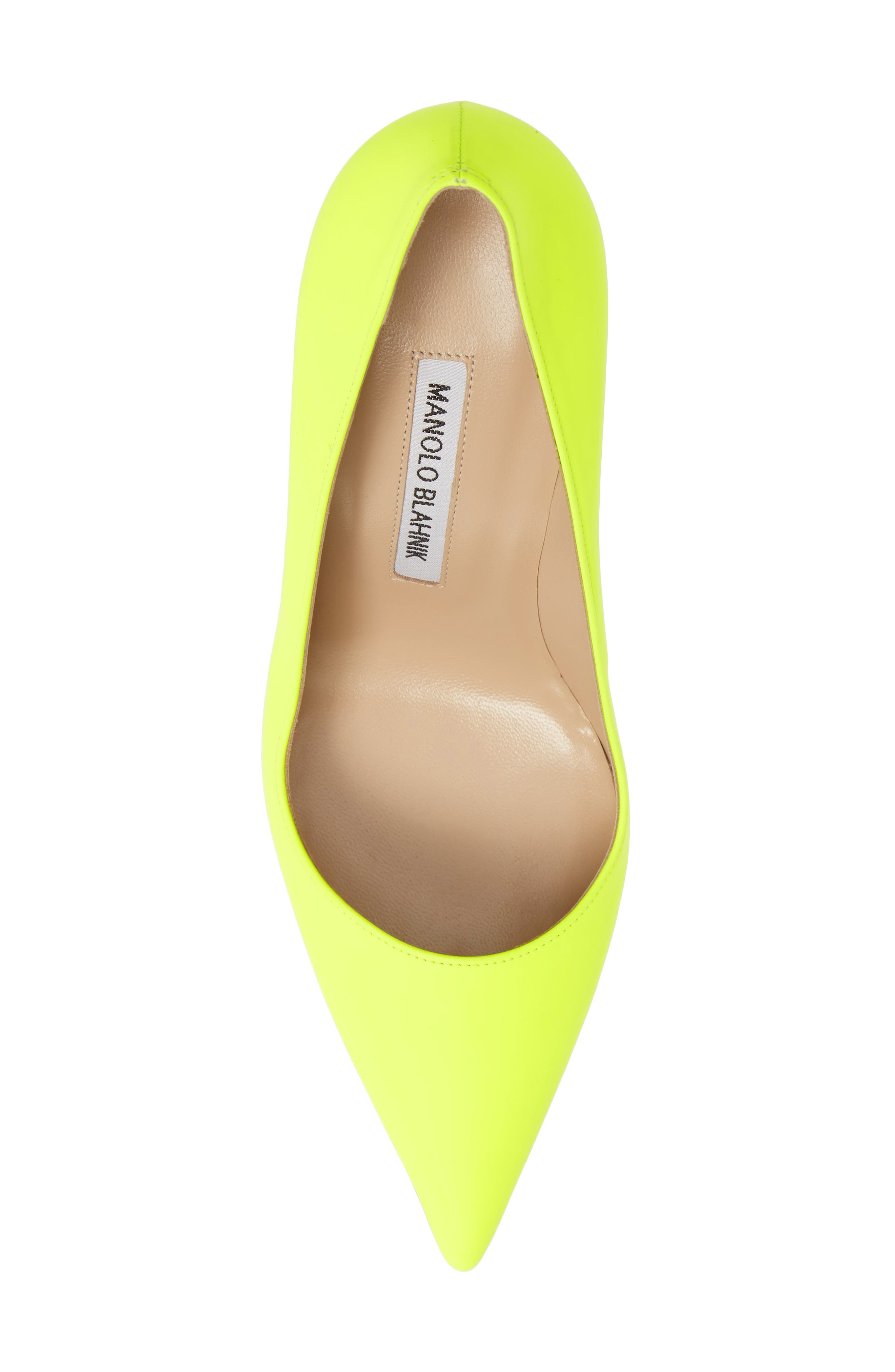 MANOLO BLAHNIK, 'BB' Pointy Toe Pump, Alternate thumbnail 5, color, YELLOW PATENT