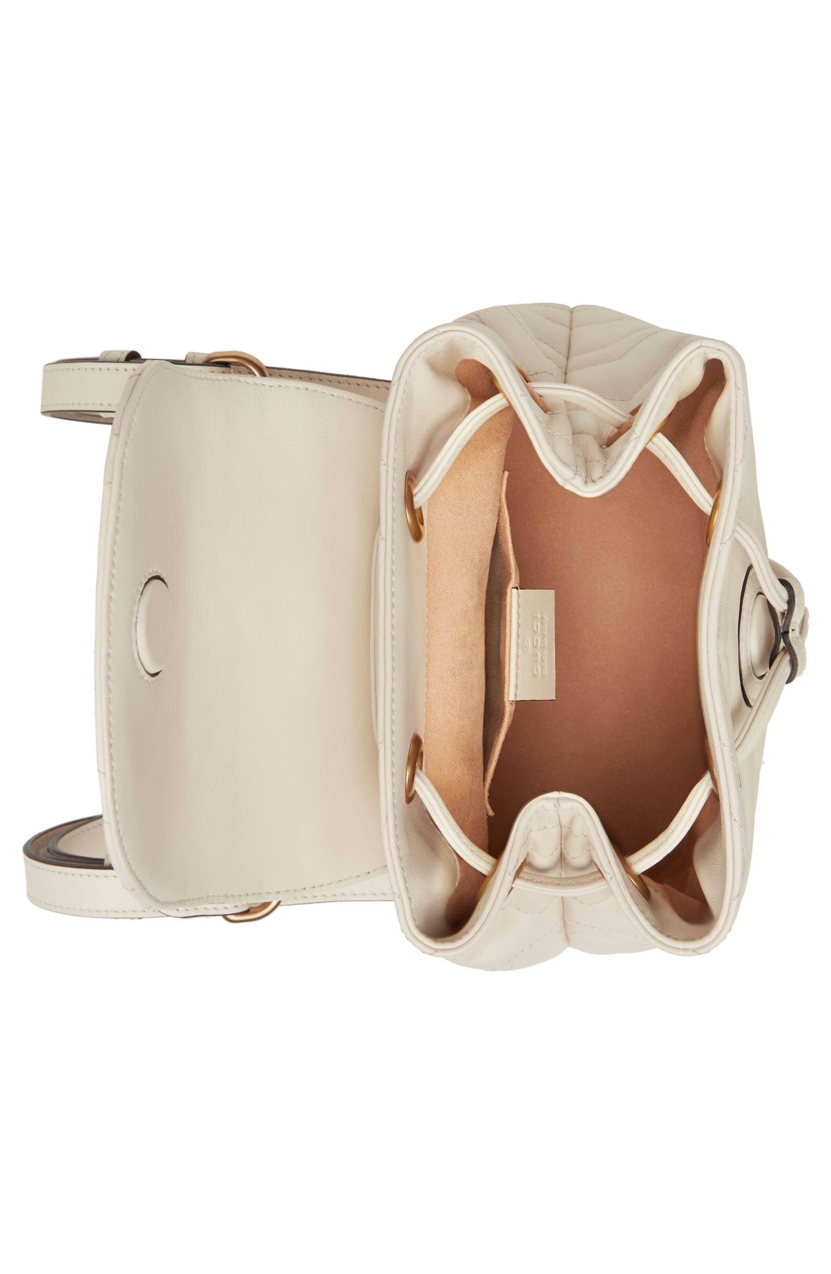 GUCCI, GG Marmont 2.0 Matelassé Leather Mini Backpack, Alternate thumbnail 3, color, MYSTIC WHITE