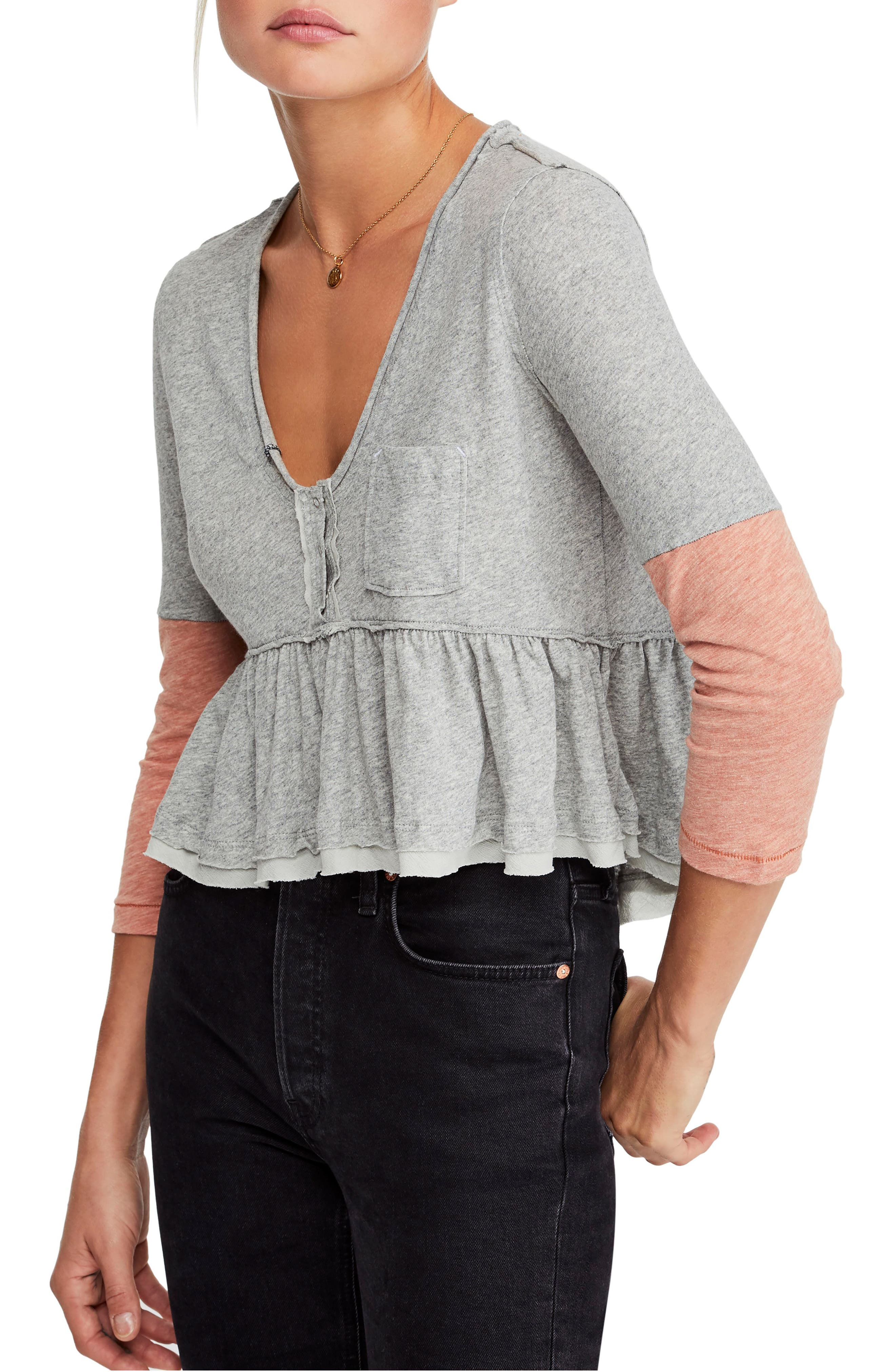 FREE PEOPLE, Heart of Mine Colorblock Cotton Top, Main thumbnail 1, color, 030