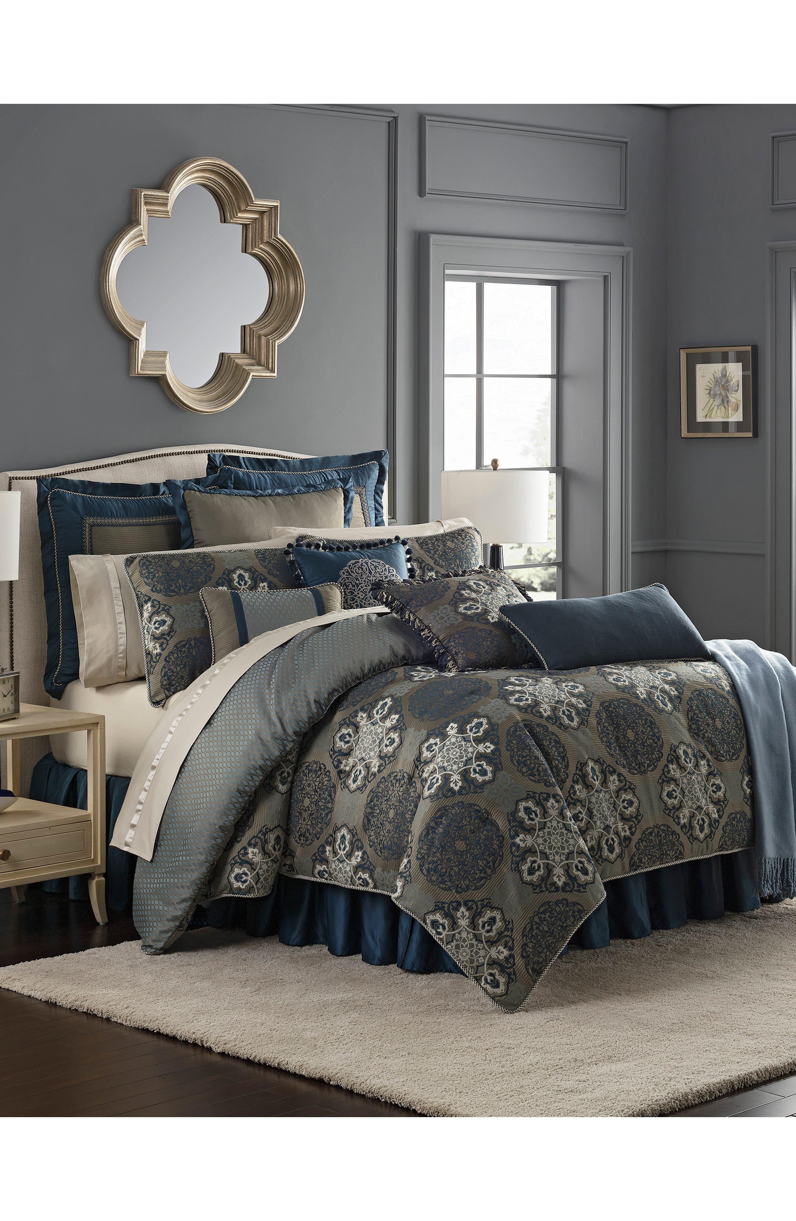 WATERFORD, Jonet Reversible Comforter, Sham & Bedskirt Set, Alternate thumbnail 7, color, INDIGO