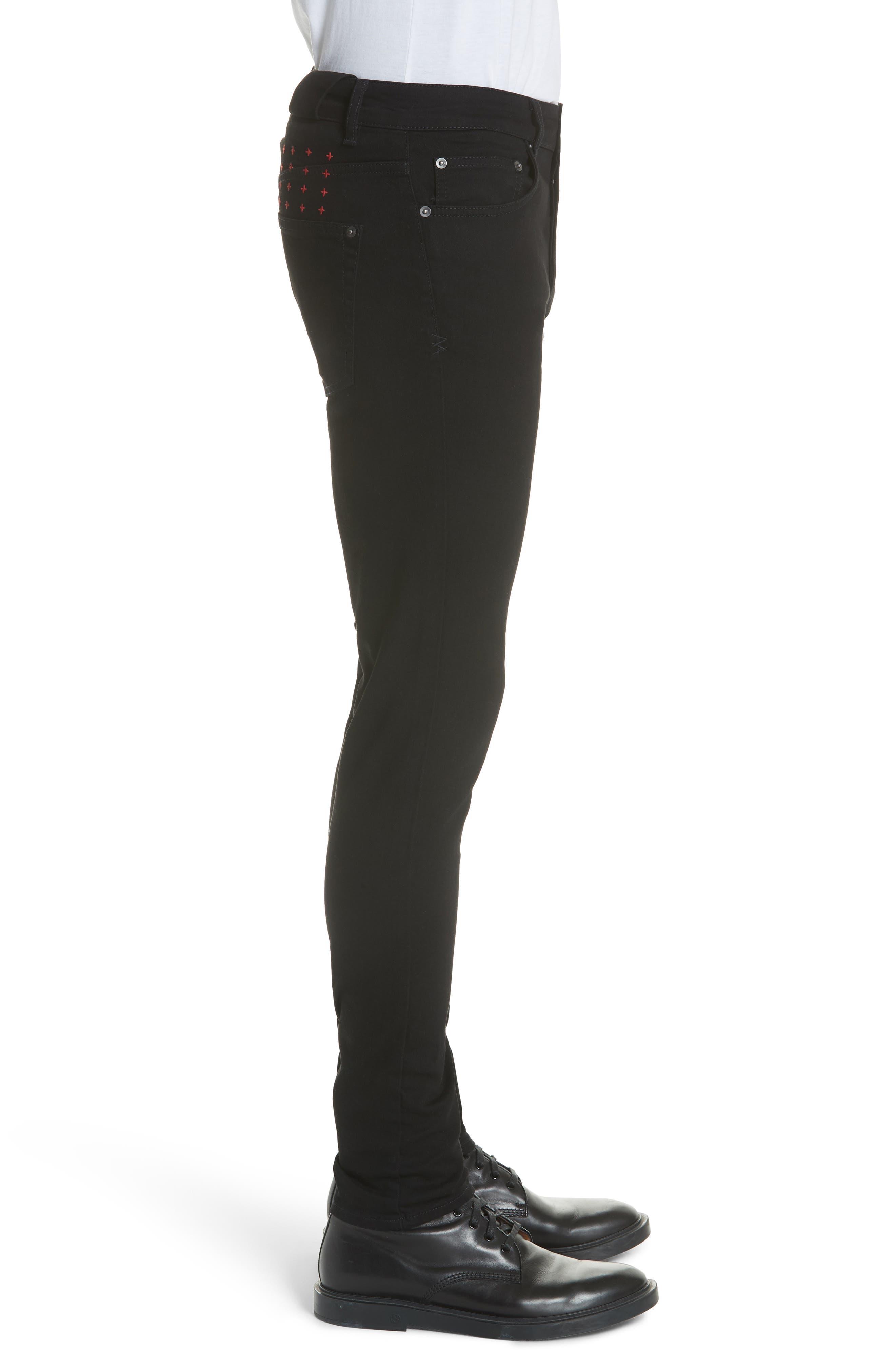 KSUBI, Chitch Laid Skinny Fit Jeans, Alternate thumbnail 4, color, BLACK