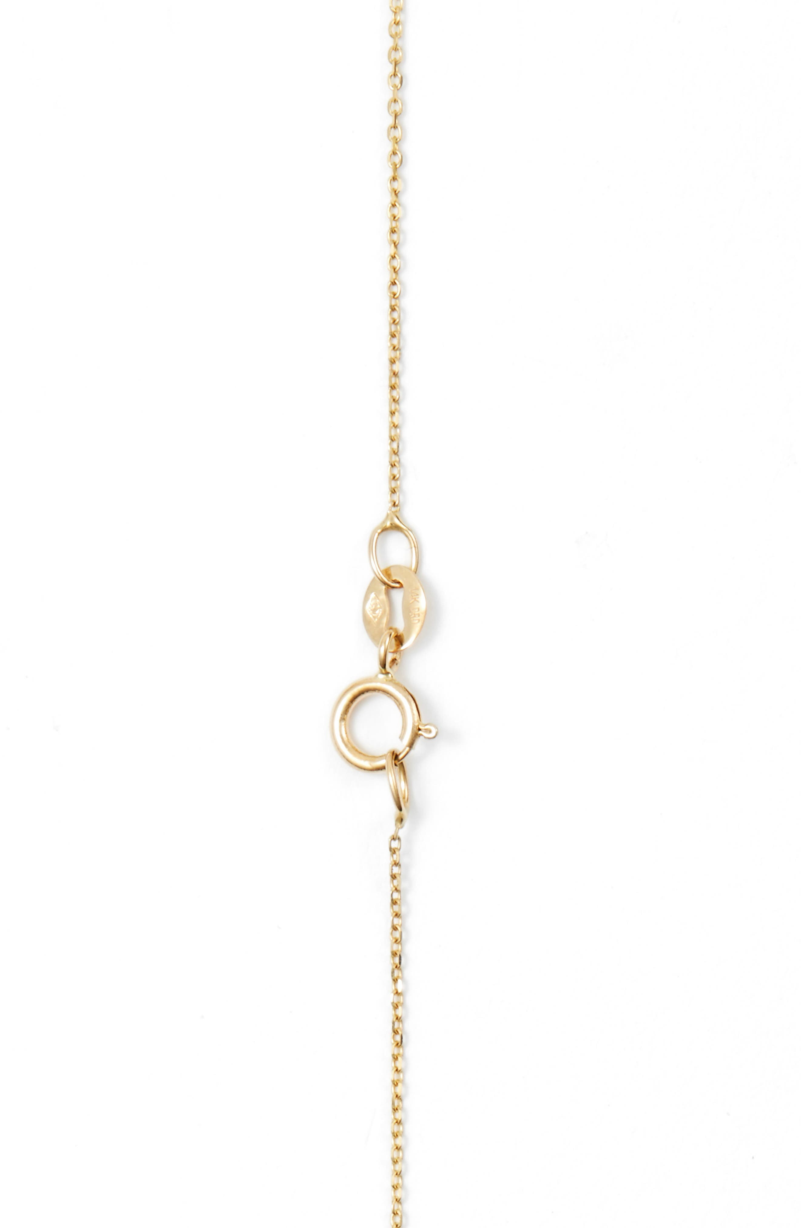 DANA REBECCA DESIGNS, 'Lauren Joy' Diamond Disc Pendant Necklace, Alternate thumbnail 3, color, YELLOW GOLD