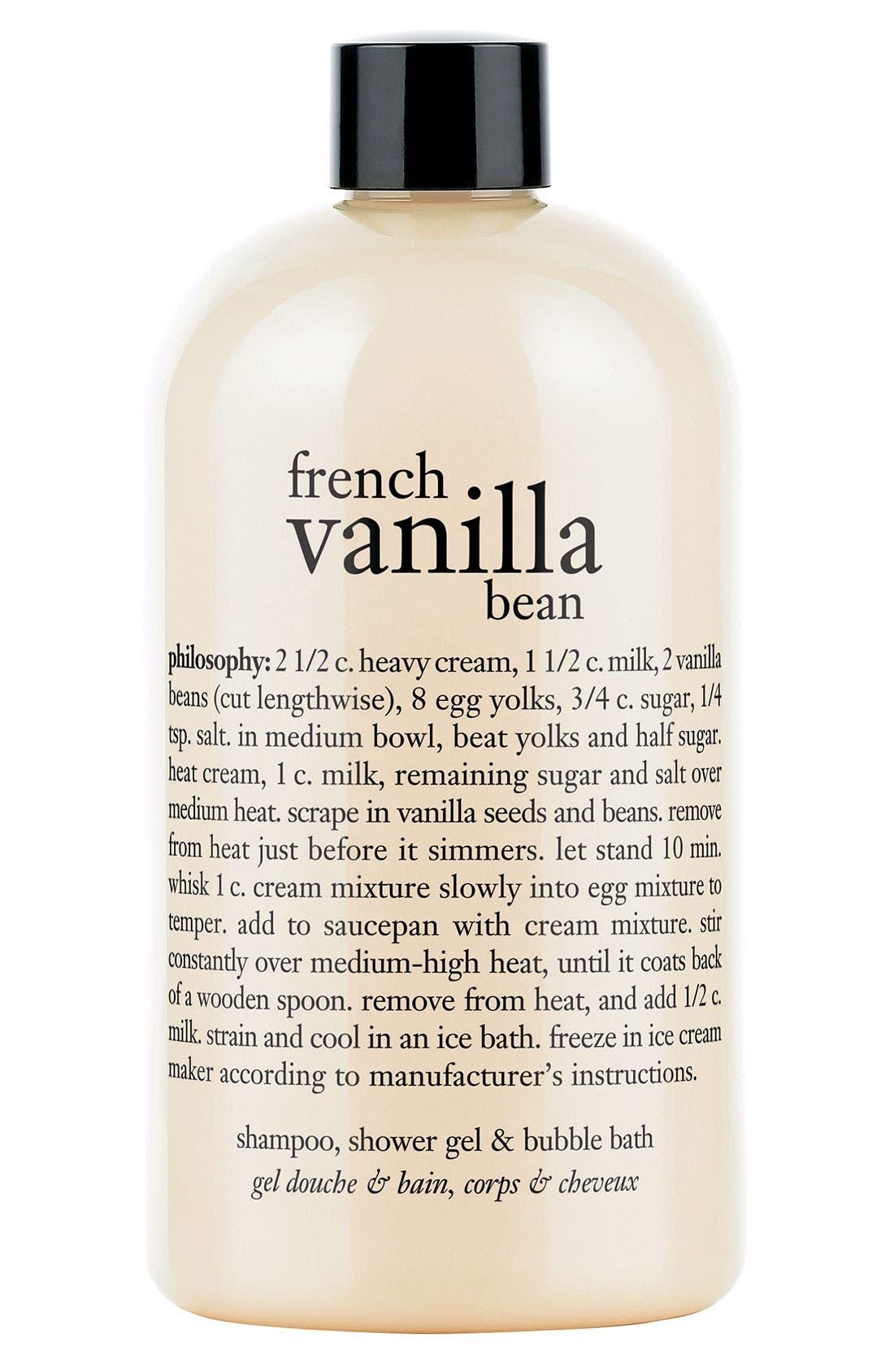 PHILOSOPHY, 'french vanilla bean' shampoo, shower gel & bubble bath, Main thumbnail 1, color, NO COLOR