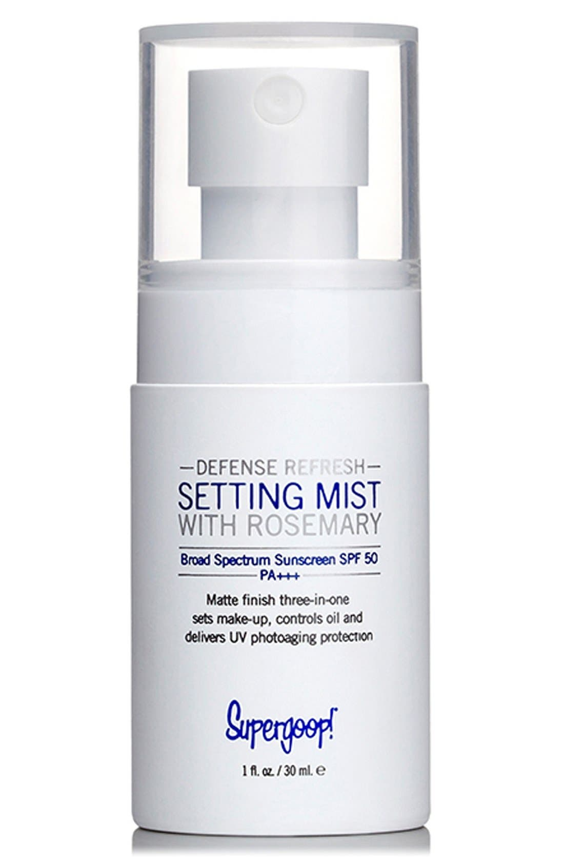 SUPERGOOP!<SUP>®</SUP>, Supergoop! Defense Refresh Setting Mist with Rosemary SPF 50, Alternate thumbnail 2, color, 000
