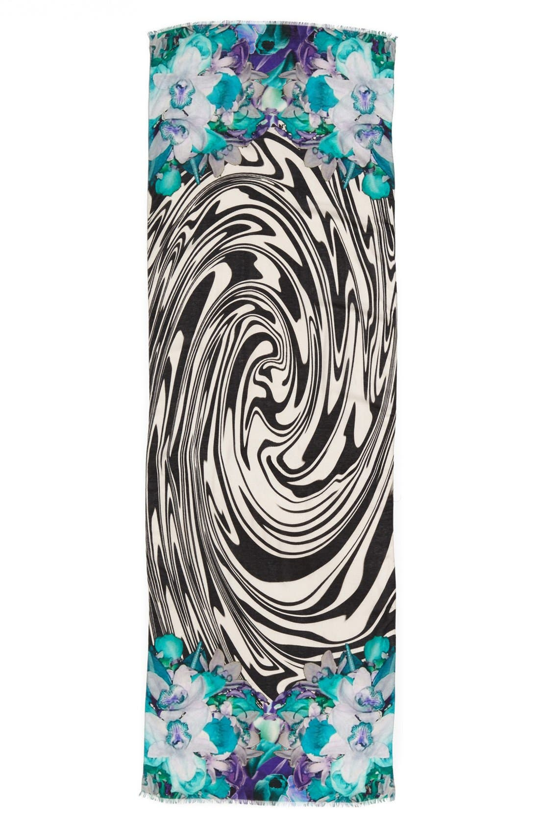 NORDSTROM, 'Waved Orchid' Scarf, Alternate thumbnail 2, color, 400