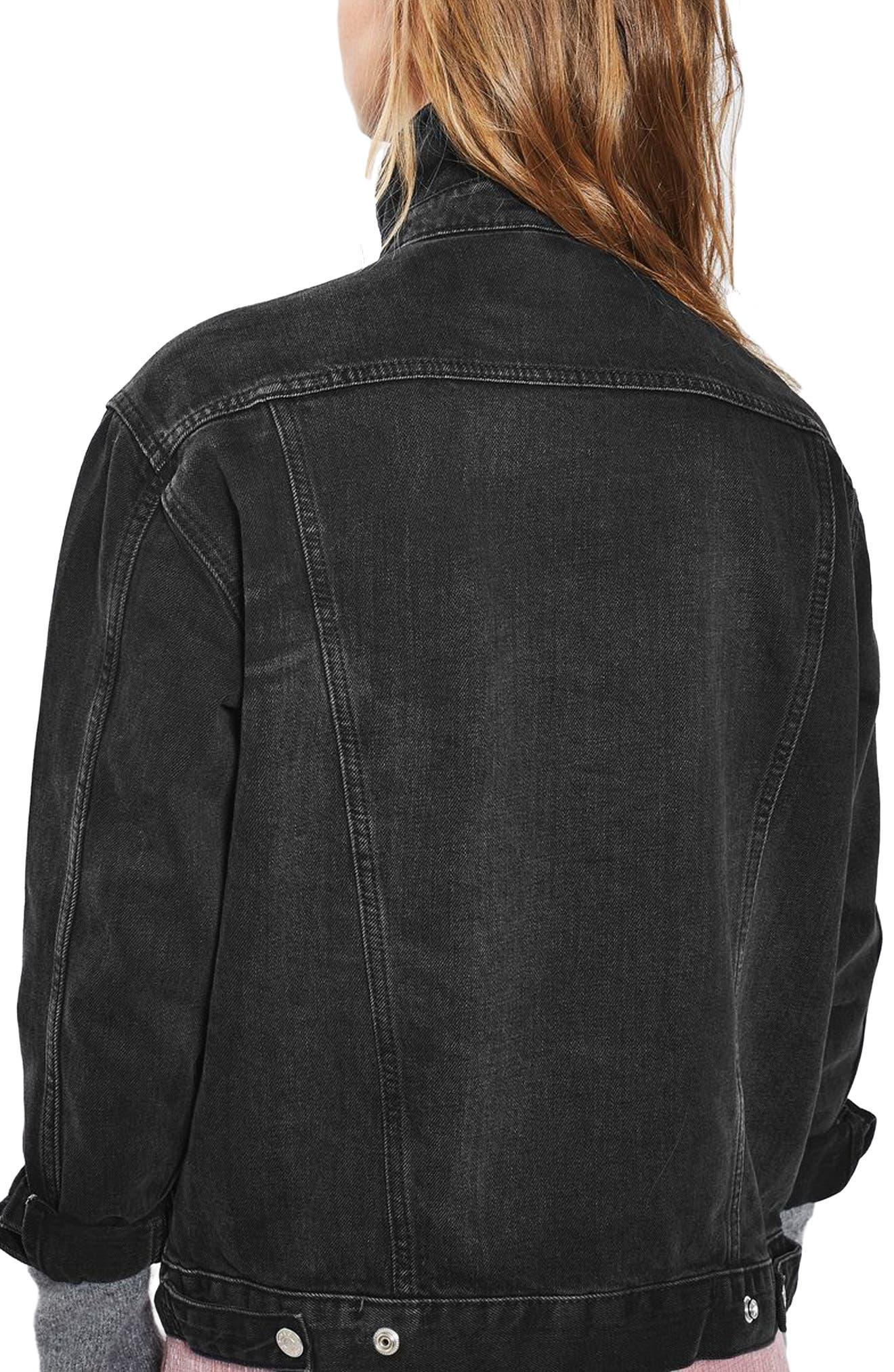 TOPSHOP, Oversize Denim Jacket, Alternate thumbnail 2, color, WASHED BLACK