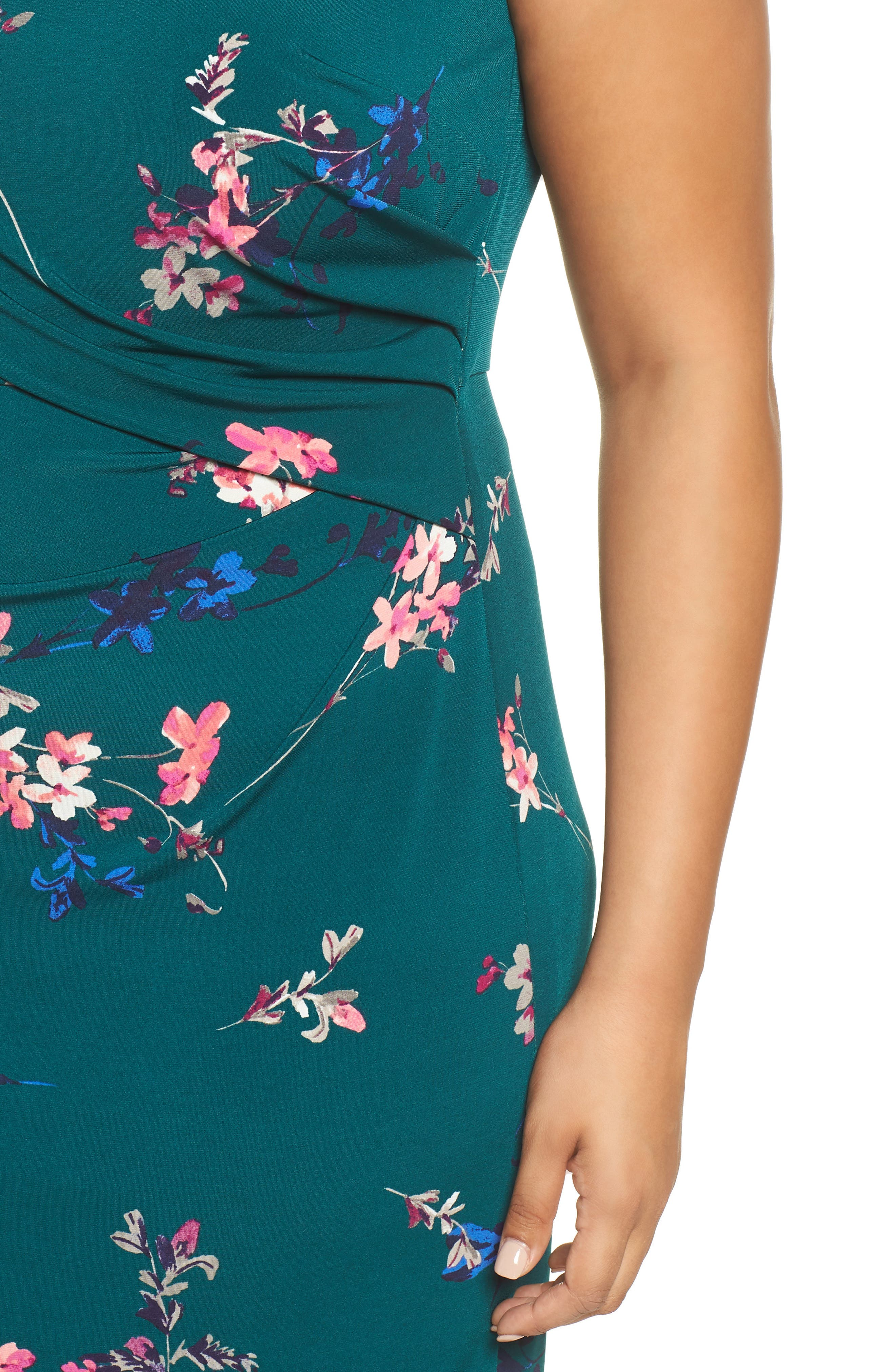 ELIZA J, Floral Print Cap Sleeve Sheath Dress, Alternate thumbnail 5, color, GREEN