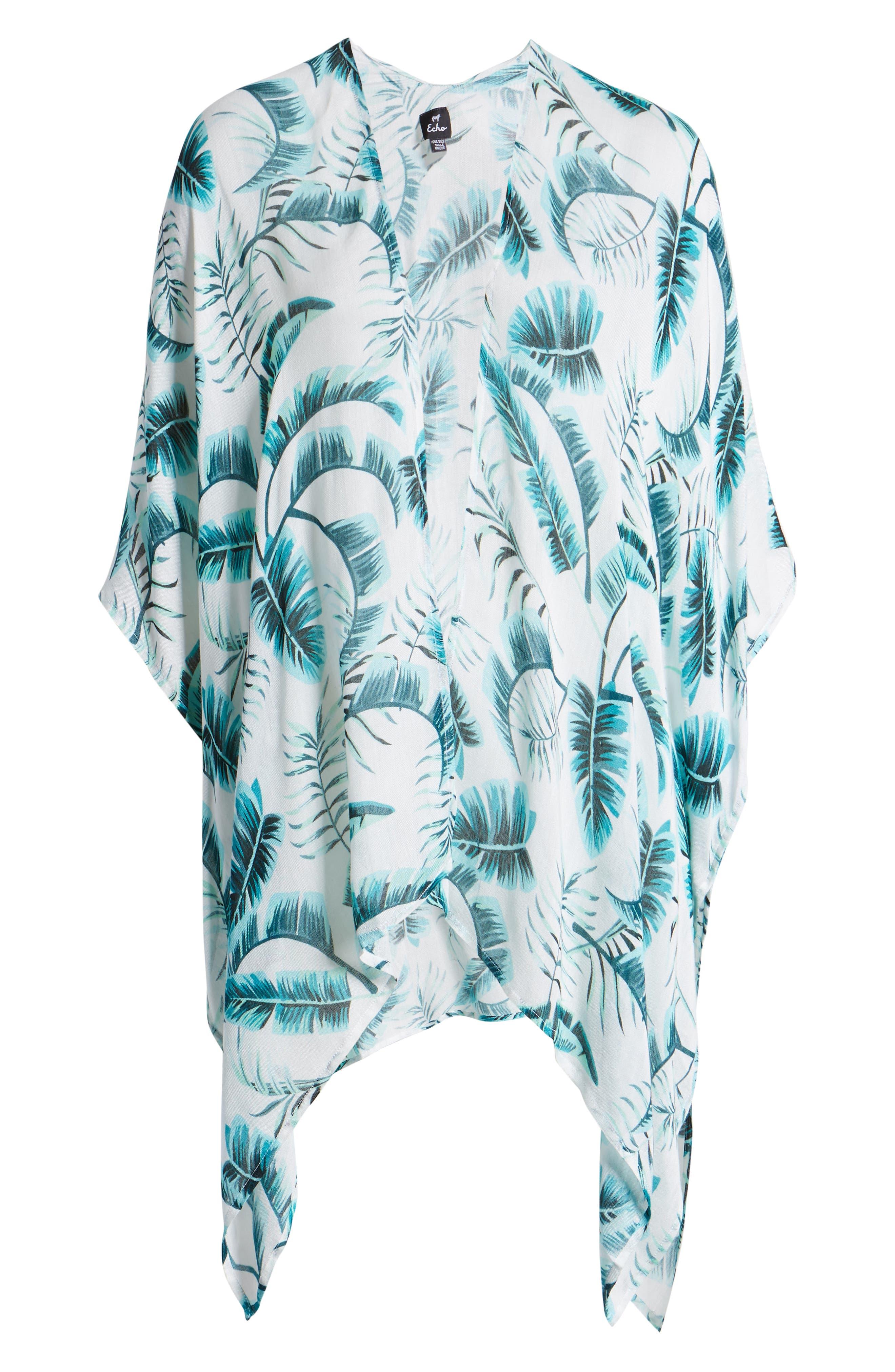 ECHO, Palm Leaf Kimono, Alternate thumbnail 6, color, EMERALD SEA