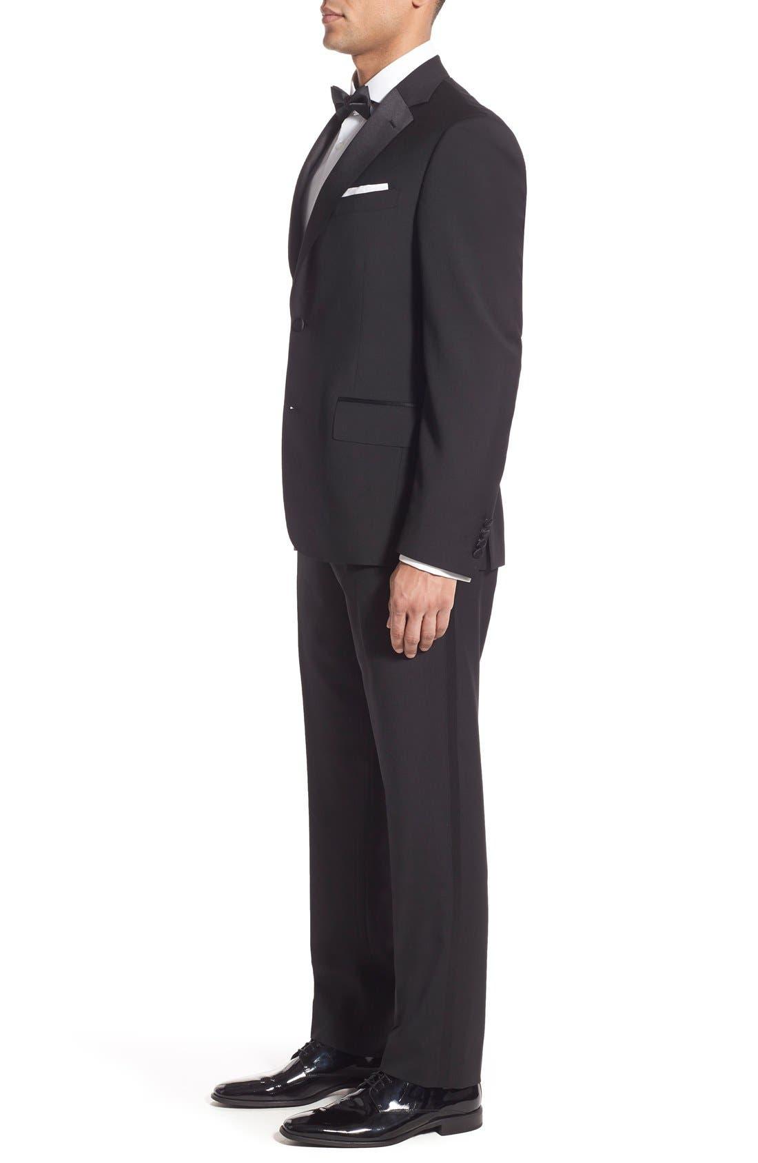 NORDSTROM MEN'S SHOP, Trim Fit Wool Tuxedo, Alternate thumbnail 6, color, BLACK