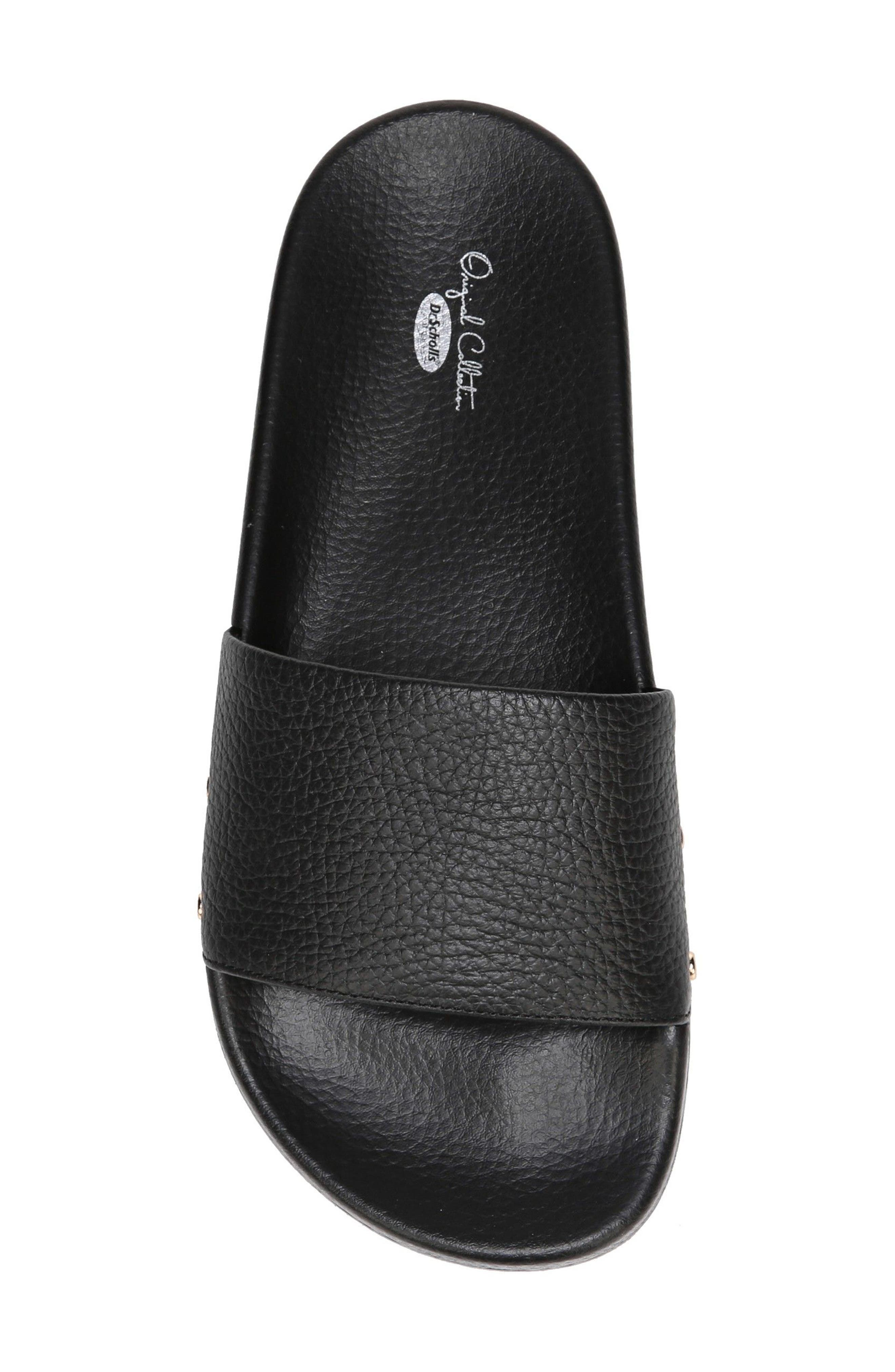 DR. SCHOLL'S, Pisces Slide Sandal, Alternate thumbnail 5, color, BLACK LEATHER