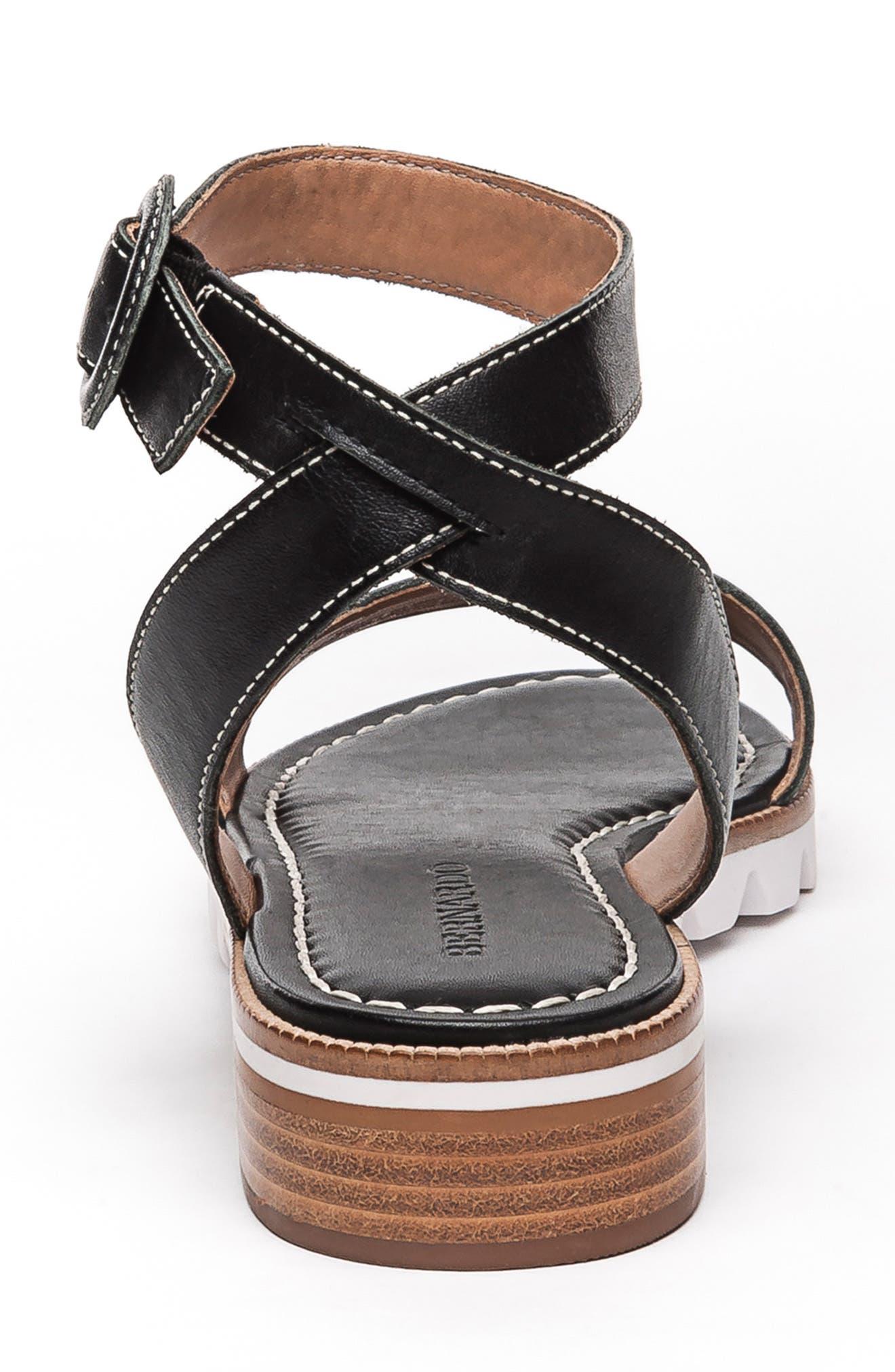 BERNARDO, Footwear Alexis Ankle Strap Sandal, Alternate thumbnail 7, color, BLACK