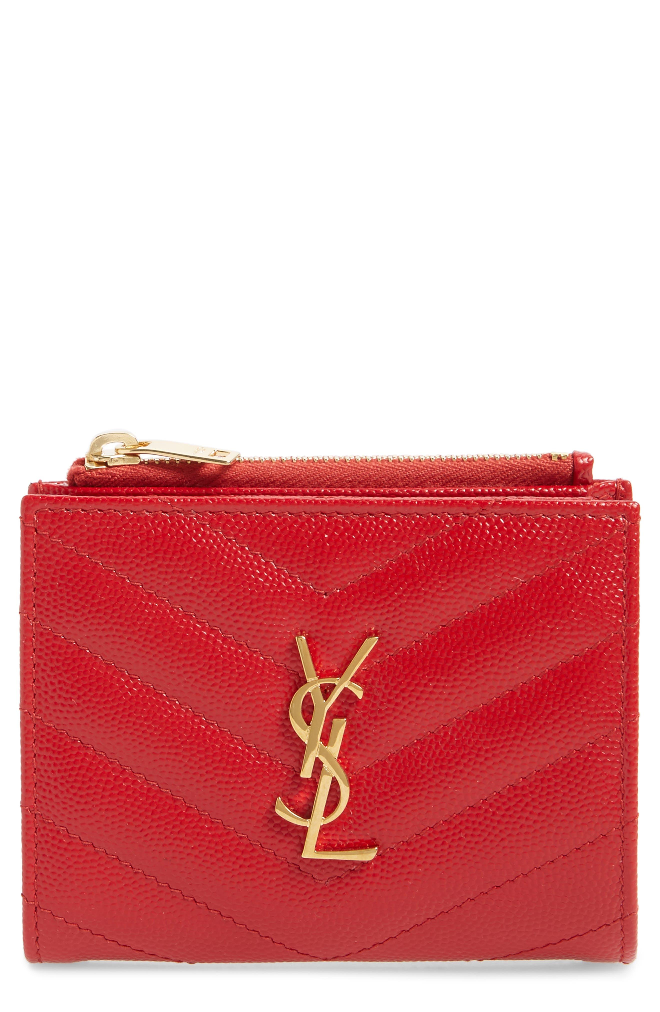 SAINT LAURENT, Monogram Leather Card Case, Main thumbnail 1, color, BANDANA RED