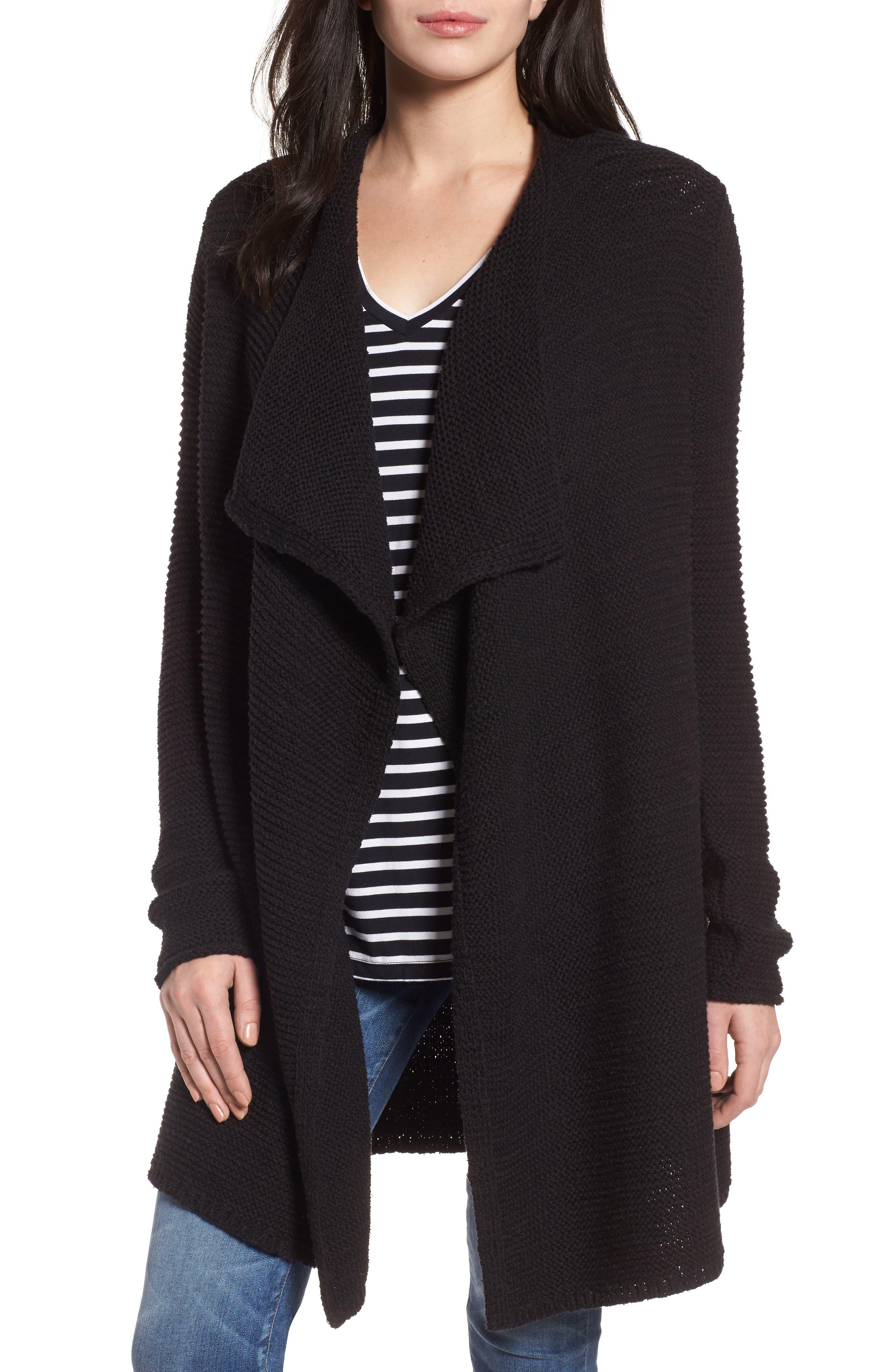 CASLON<SUP>®</SUP> Drape Front Long Cardigan, Main, color, 001