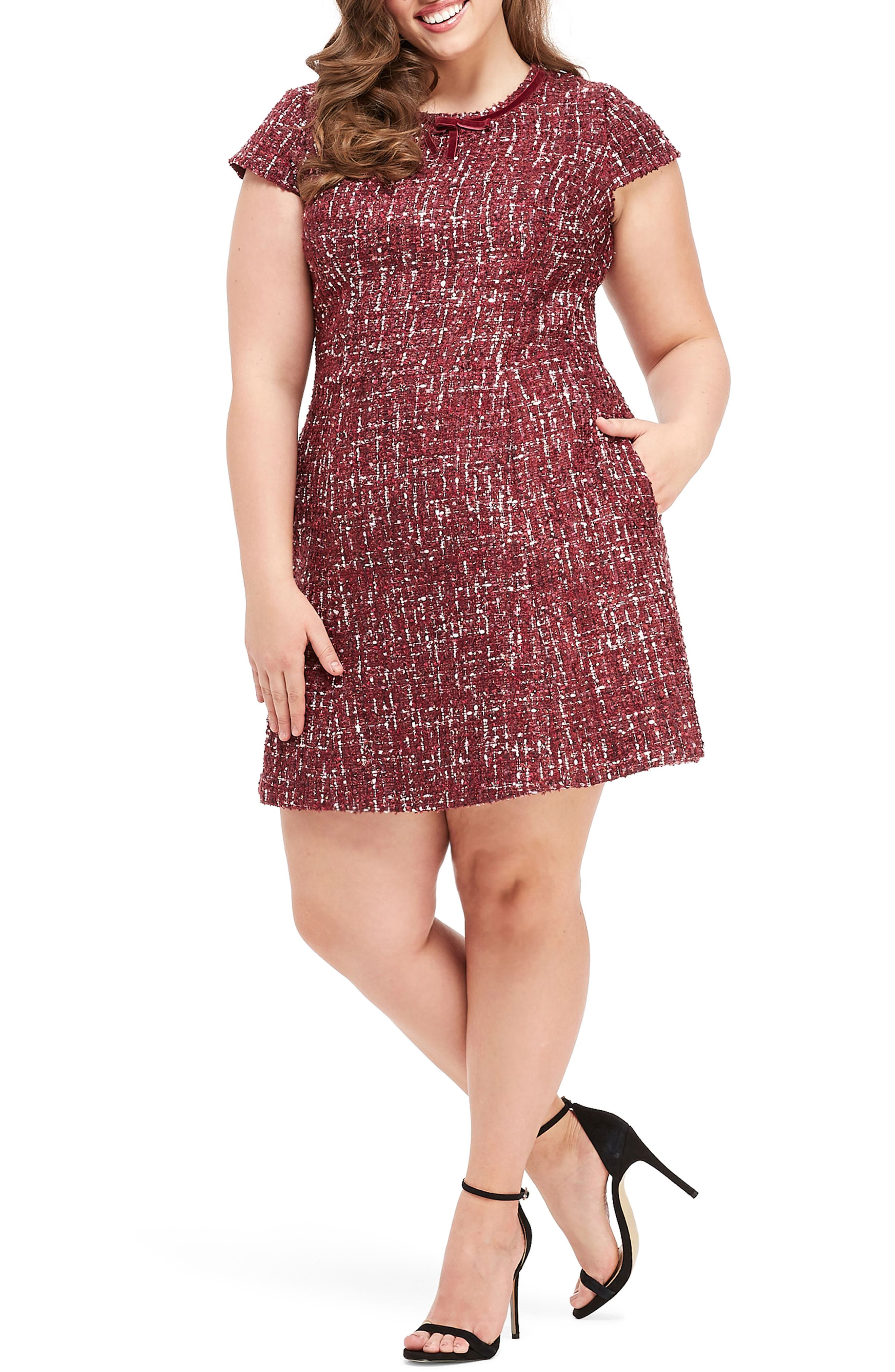 GAL MEETS GLAM COLLECTION, Nell Bouclé Dreams Tweed Fit & Flare Dress, Alternate thumbnail 2, color, 650