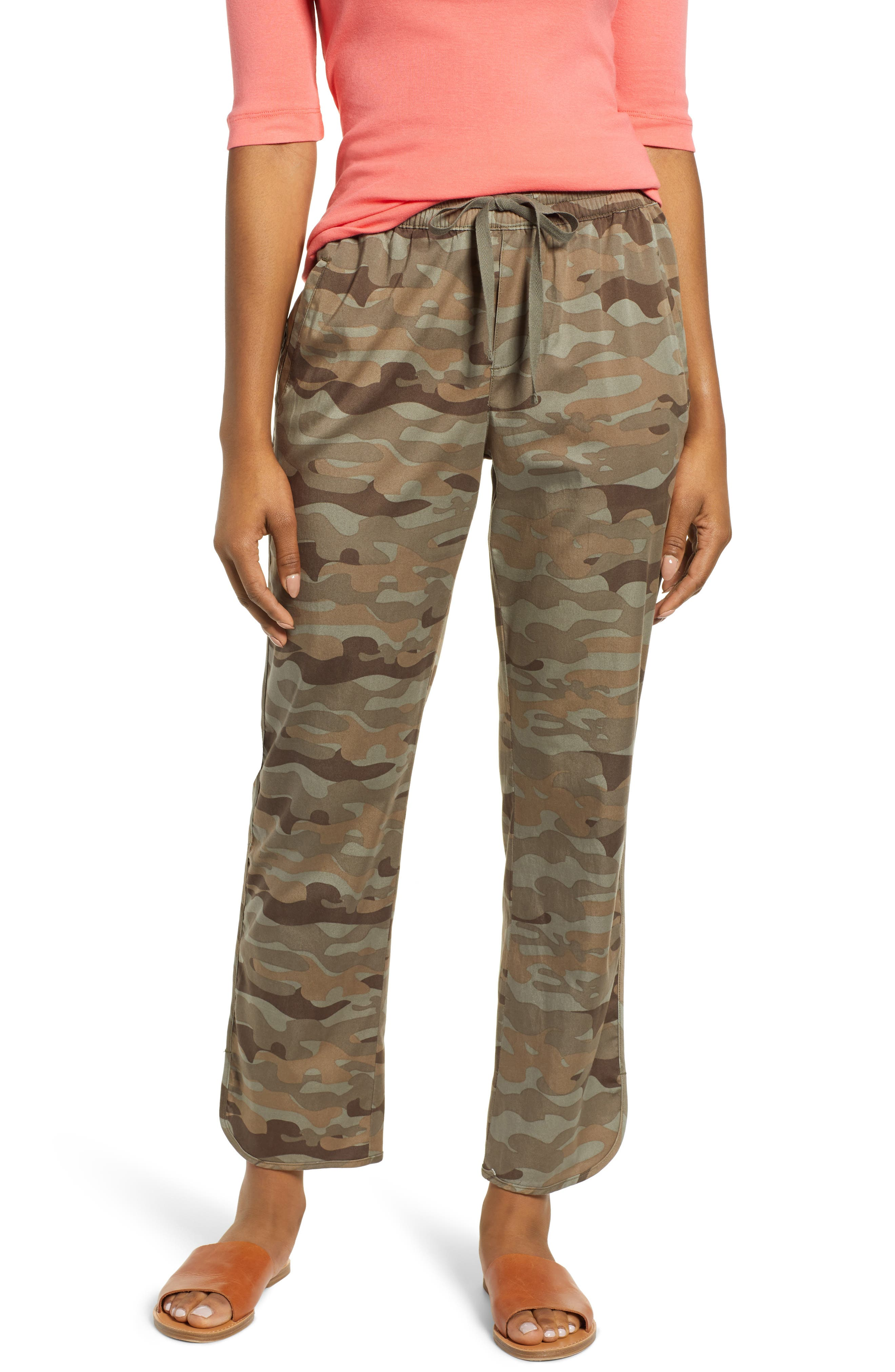 CASLON<SUP>®</SUP> Sandwashed Pull-On Pants, Main, color, OLIVE FADED LARGE CAMO PRINT
