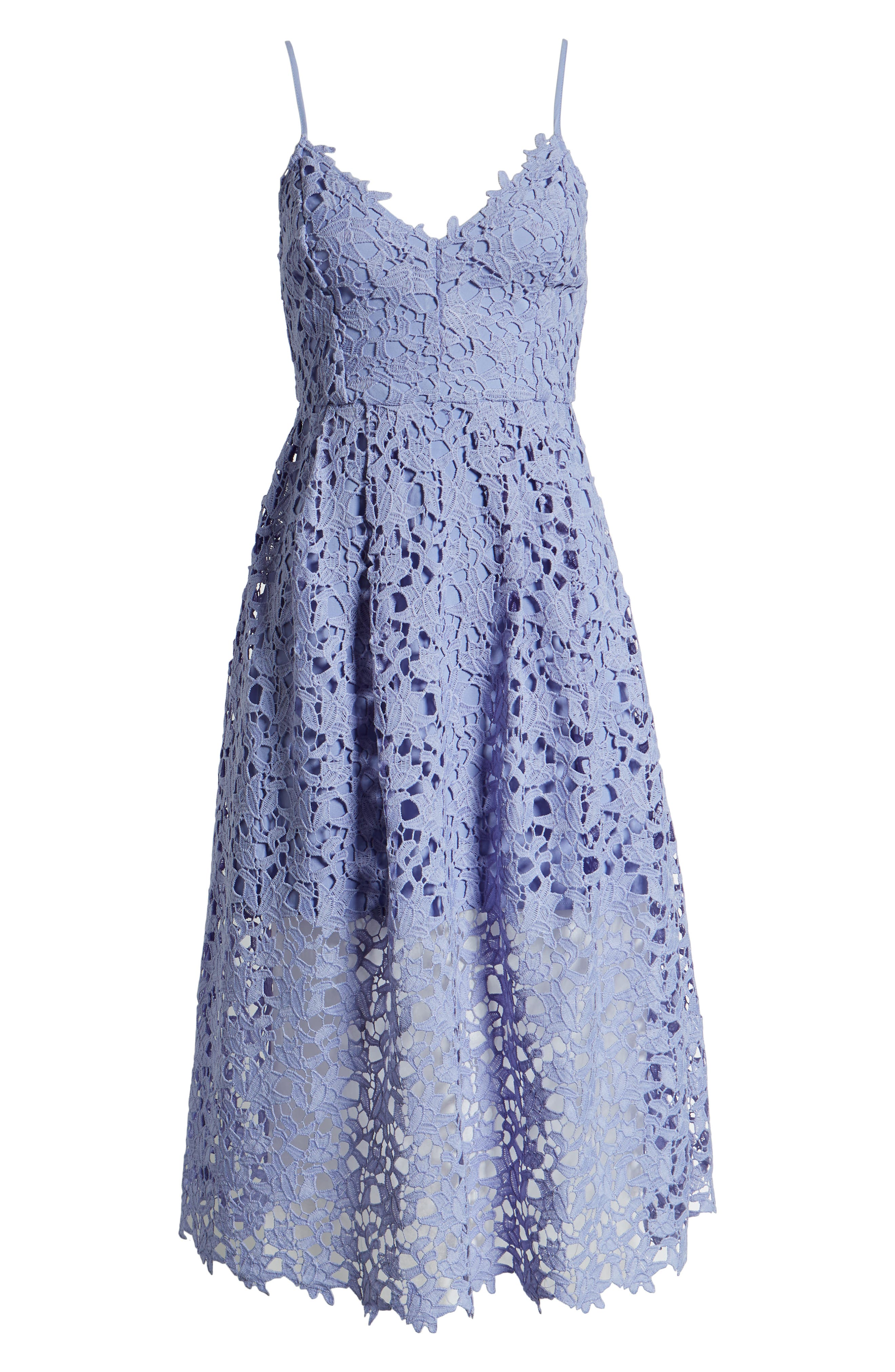 ASTR THE LABEL, Lace Midi Dress, Alternate thumbnail 7, color, LAVENDER