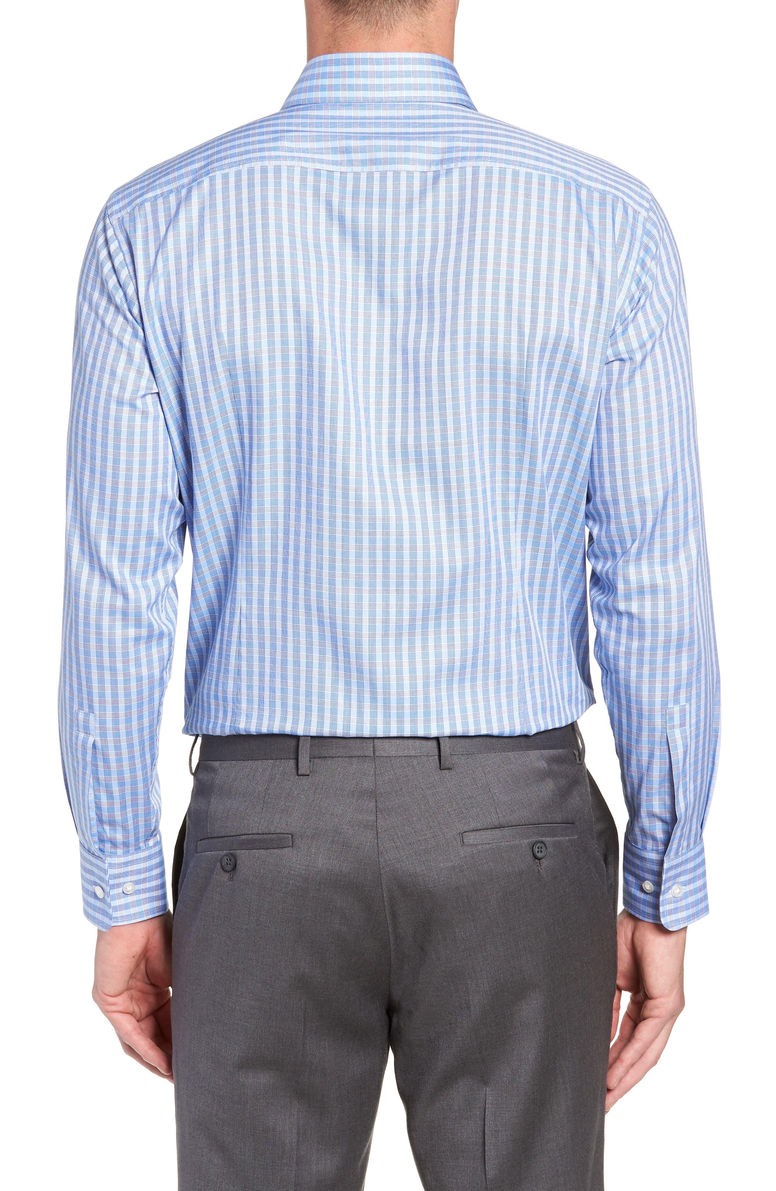 BOSS, Mark Sharp Fit Check Dress Shirt, Alternate thumbnail 3, color, BLUE