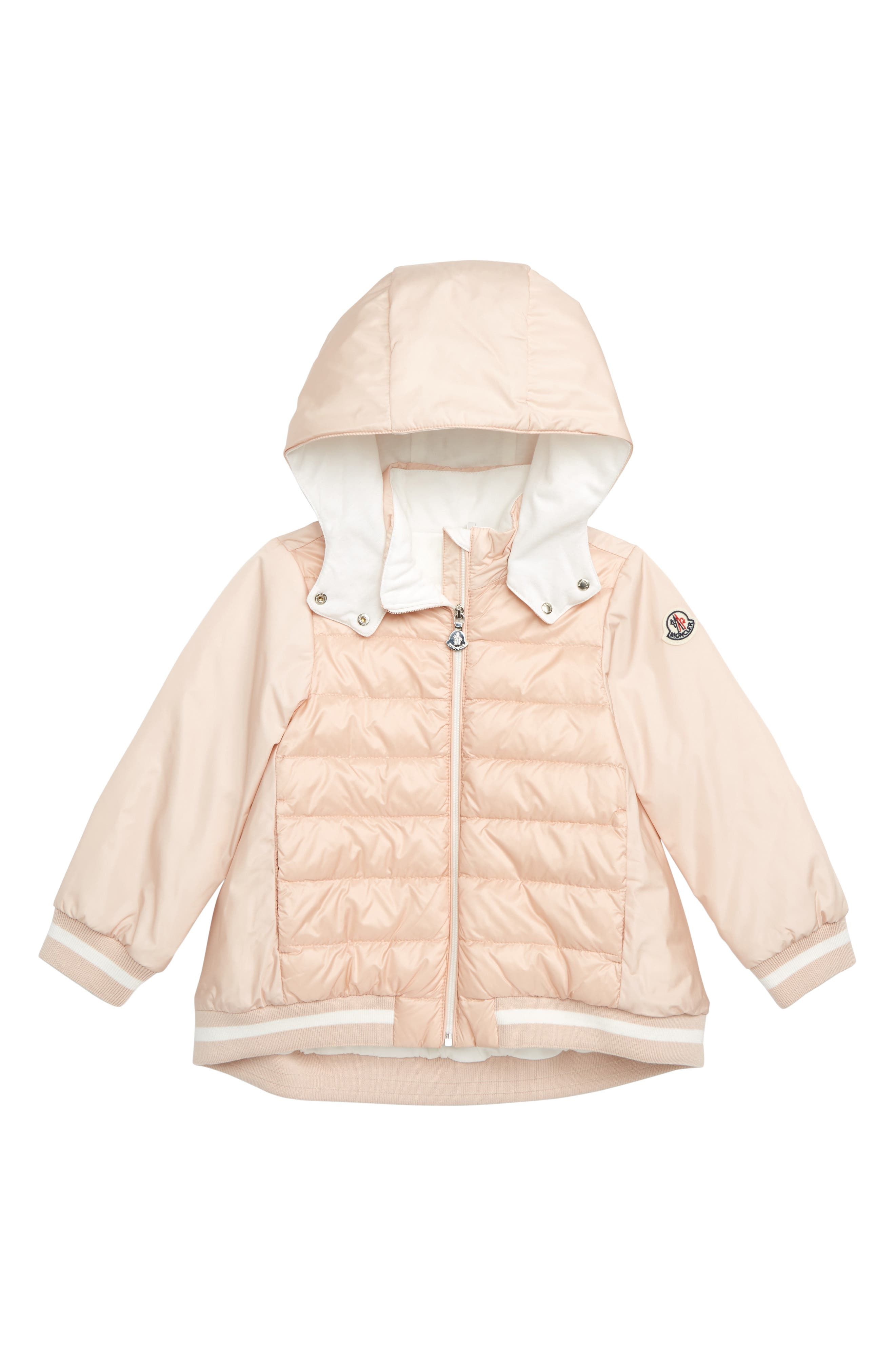 MONCLER, Tureia Hooded Down Jacket, Main thumbnail 1, color, 50B LT PINK