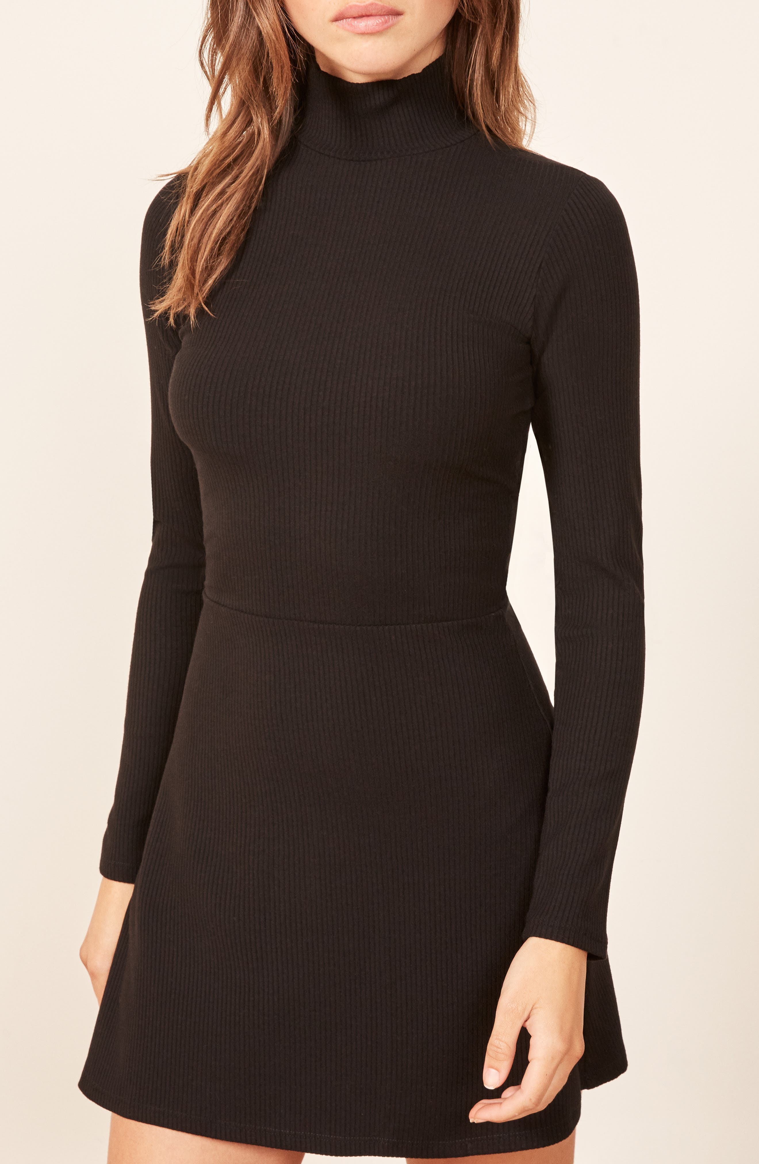 REFORMATION, Maya Turtleneck Body-Con Dress, Alternate thumbnail 5, color, BLACK