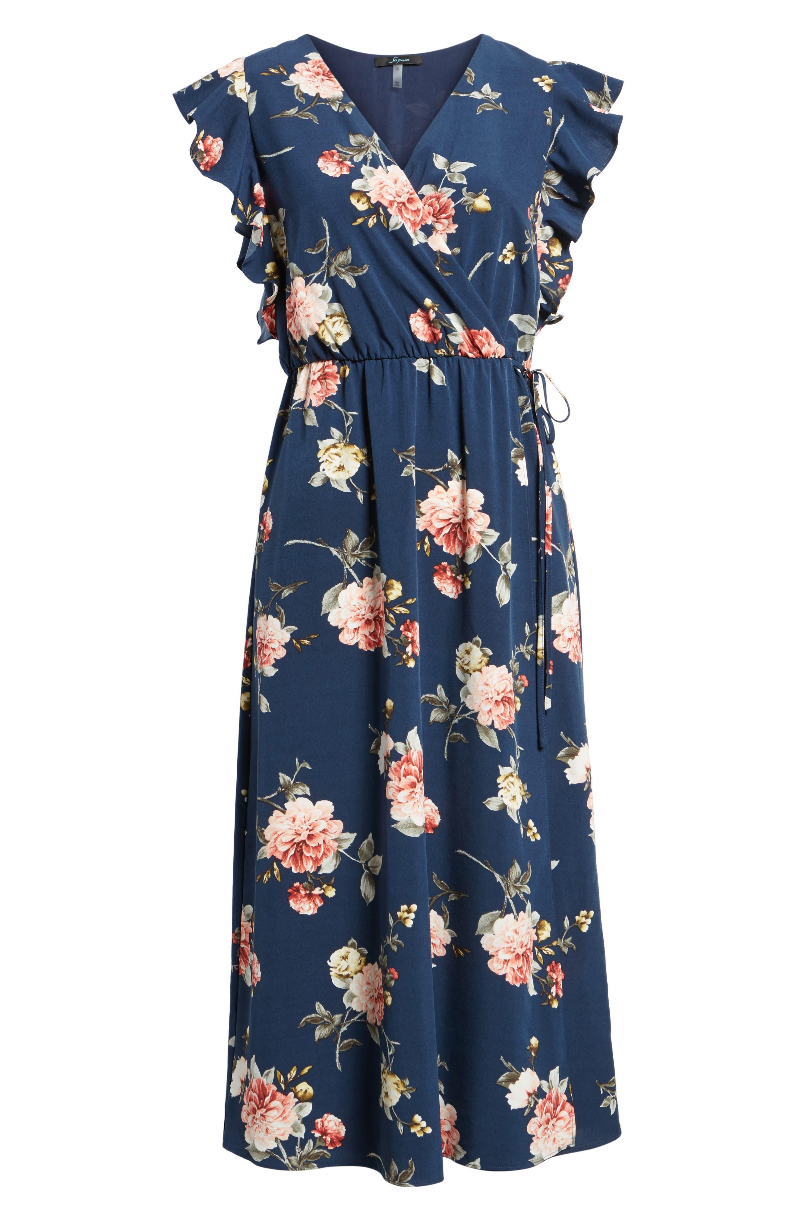 SOPRANO, Wrap Midi Dress, Alternate thumbnail 6, color, 400