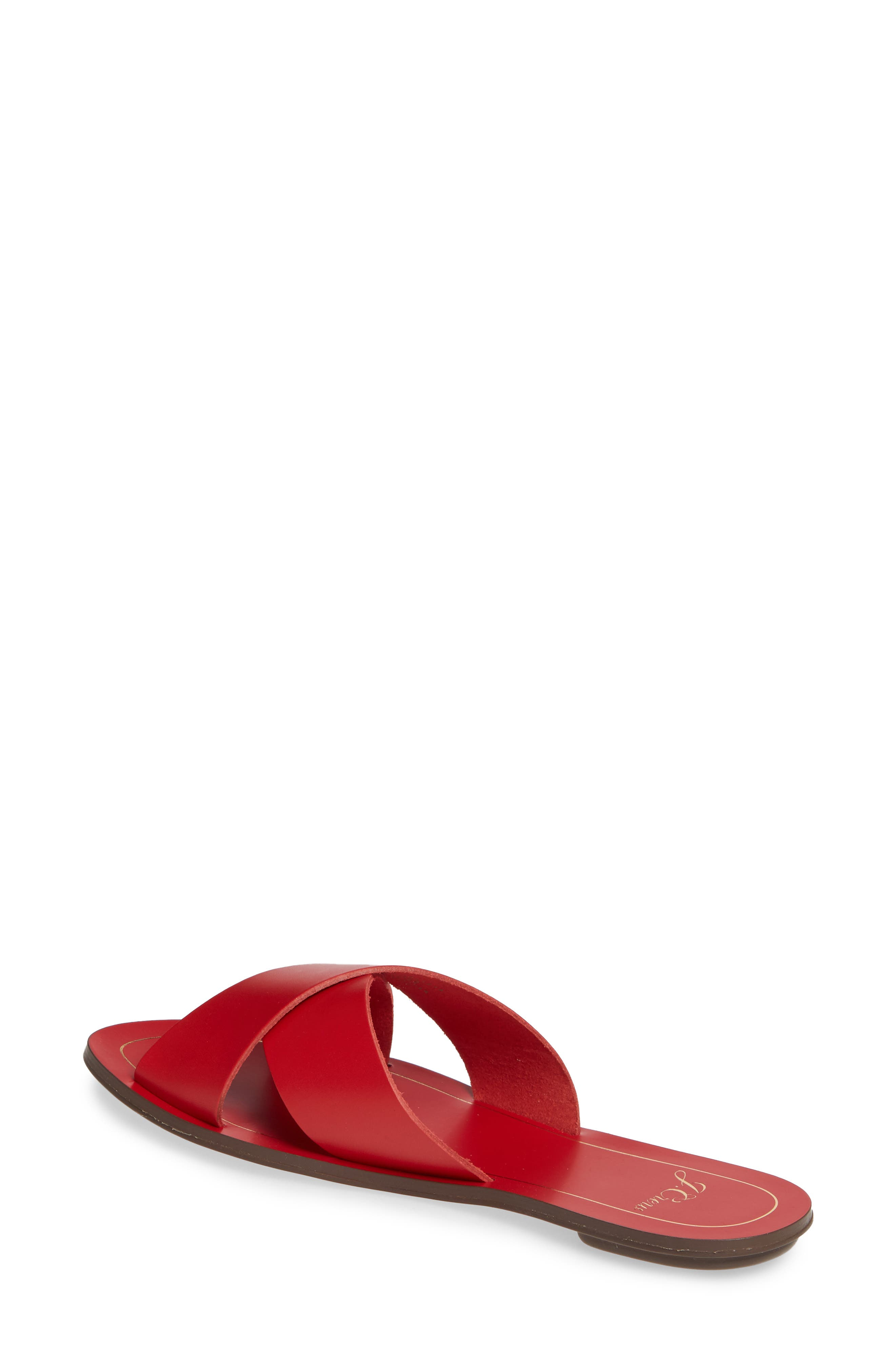 J.CREW, Cyprus Slide Sandal, Alternate thumbnail 2, color, BOLD RED LEATHER