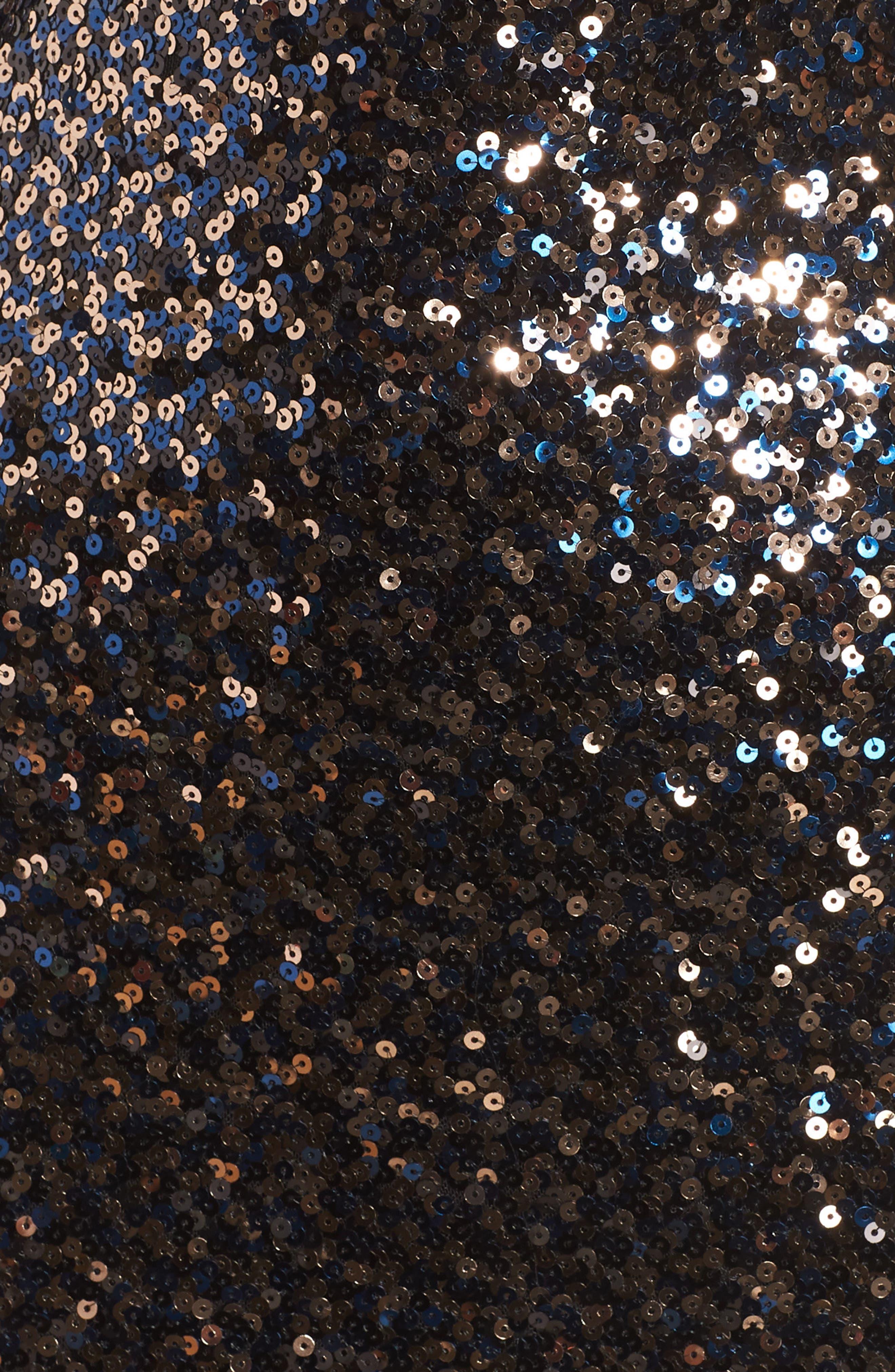 ELIZA J, Bateau Neck Sequin Sheath Dress, Alternate thumbnail 6, color, 010