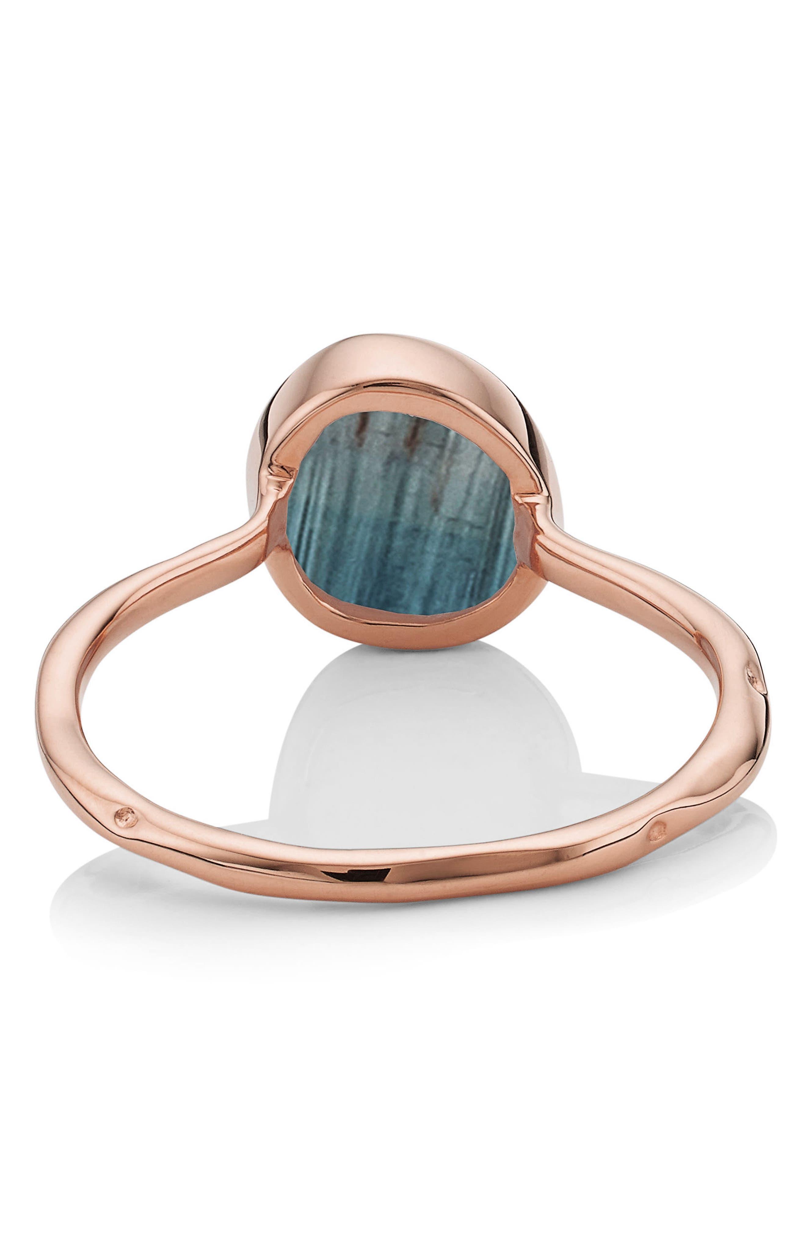 MONICA VINADER, Siren Semiprecious Stone Stacking Ring, Alternate thumbnail 4, color, ROSE GOLD/ KYANITE