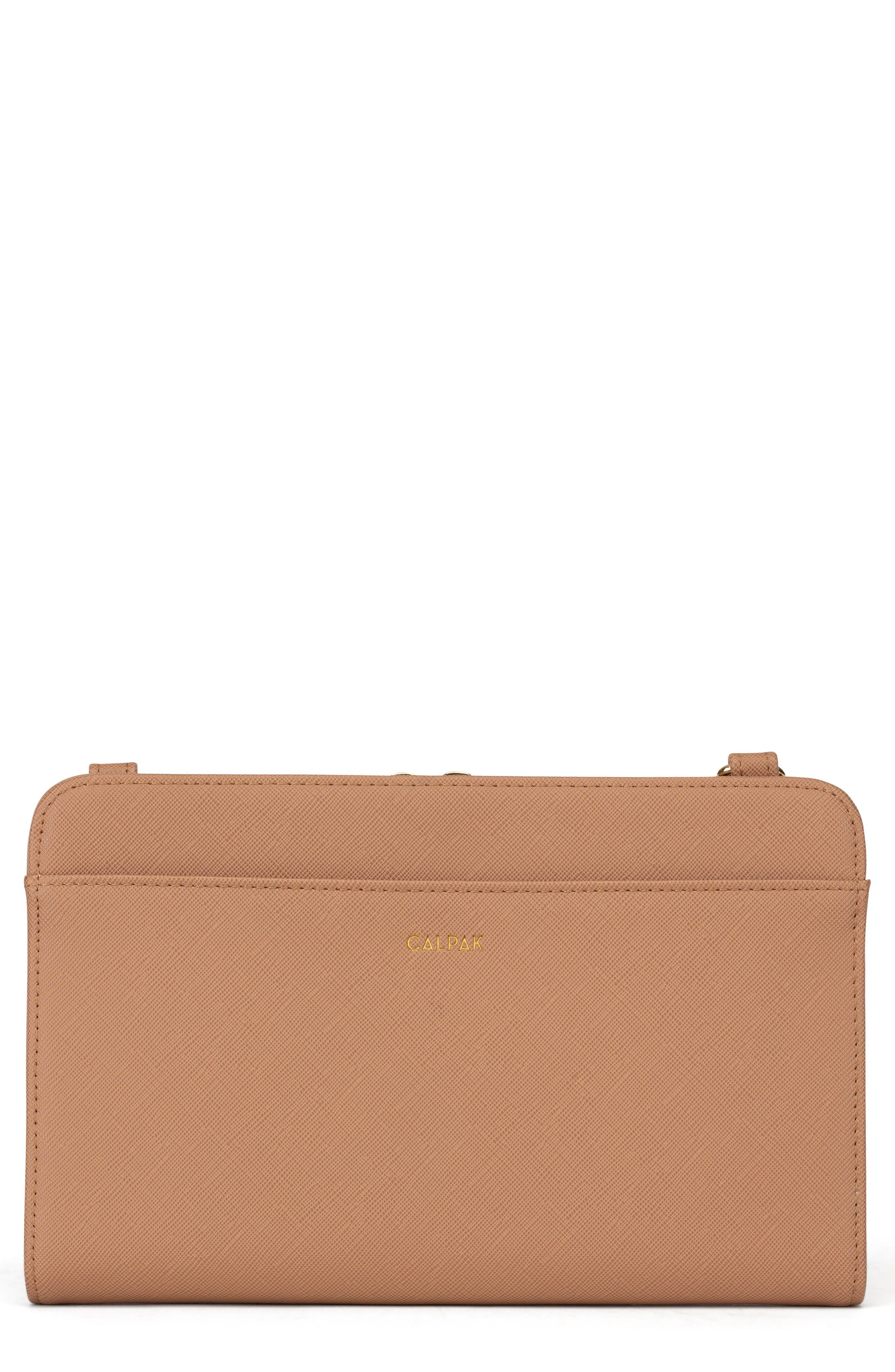 CALPAK, Faux Leather RFID Travel Wallet, Main thumbnail 1, color, CARAMEL