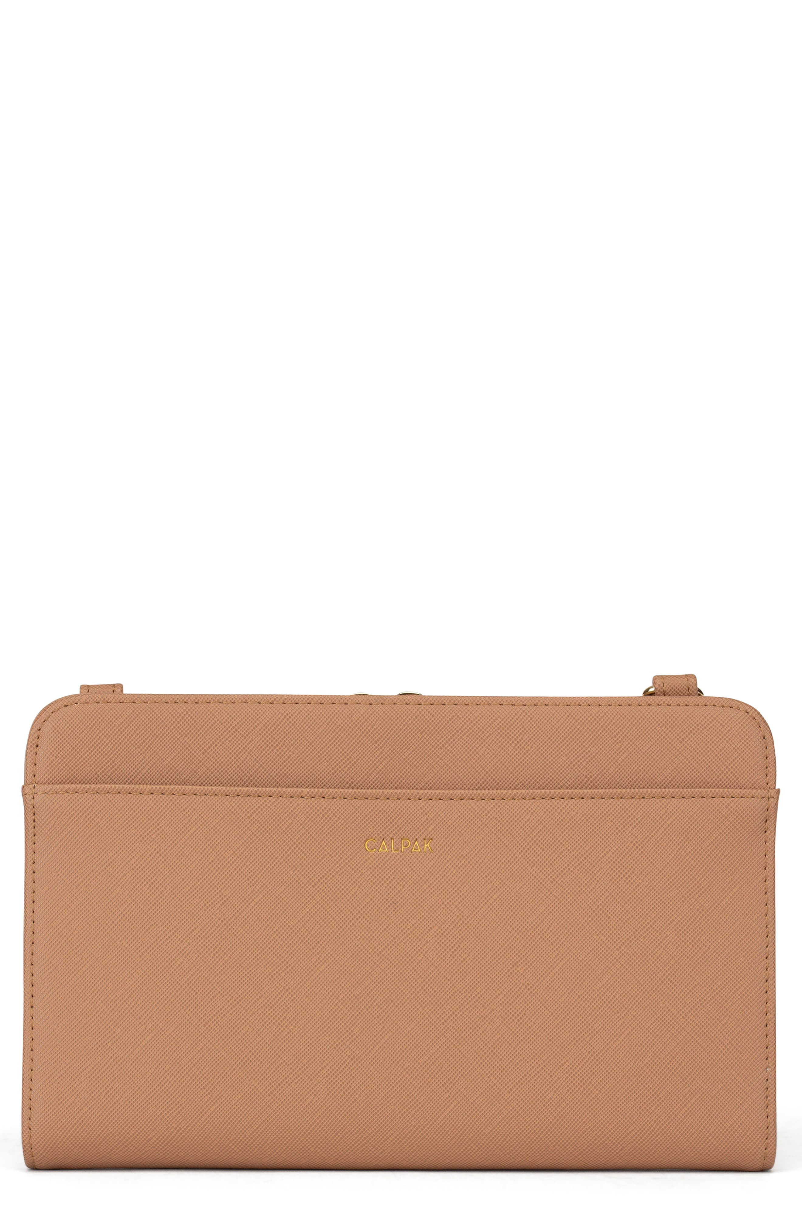 CALPAK Faux Leather RFID Travel Wallet, Main, color, CARAMEL